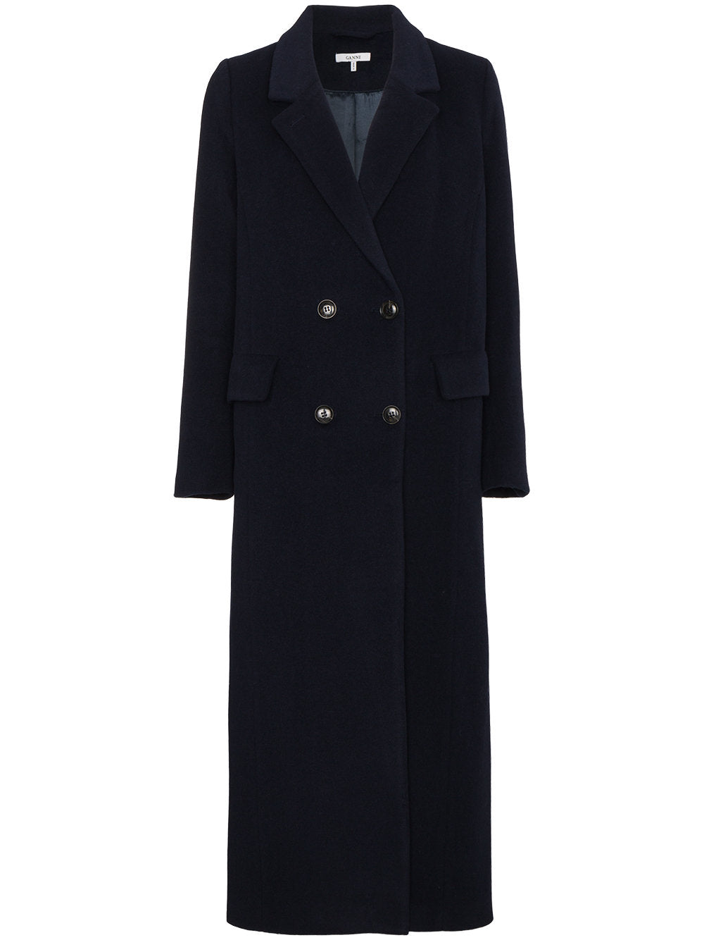 Ganni - Abbey navy blue wool coat featured in Capsule wardrobe on ownmuse.com