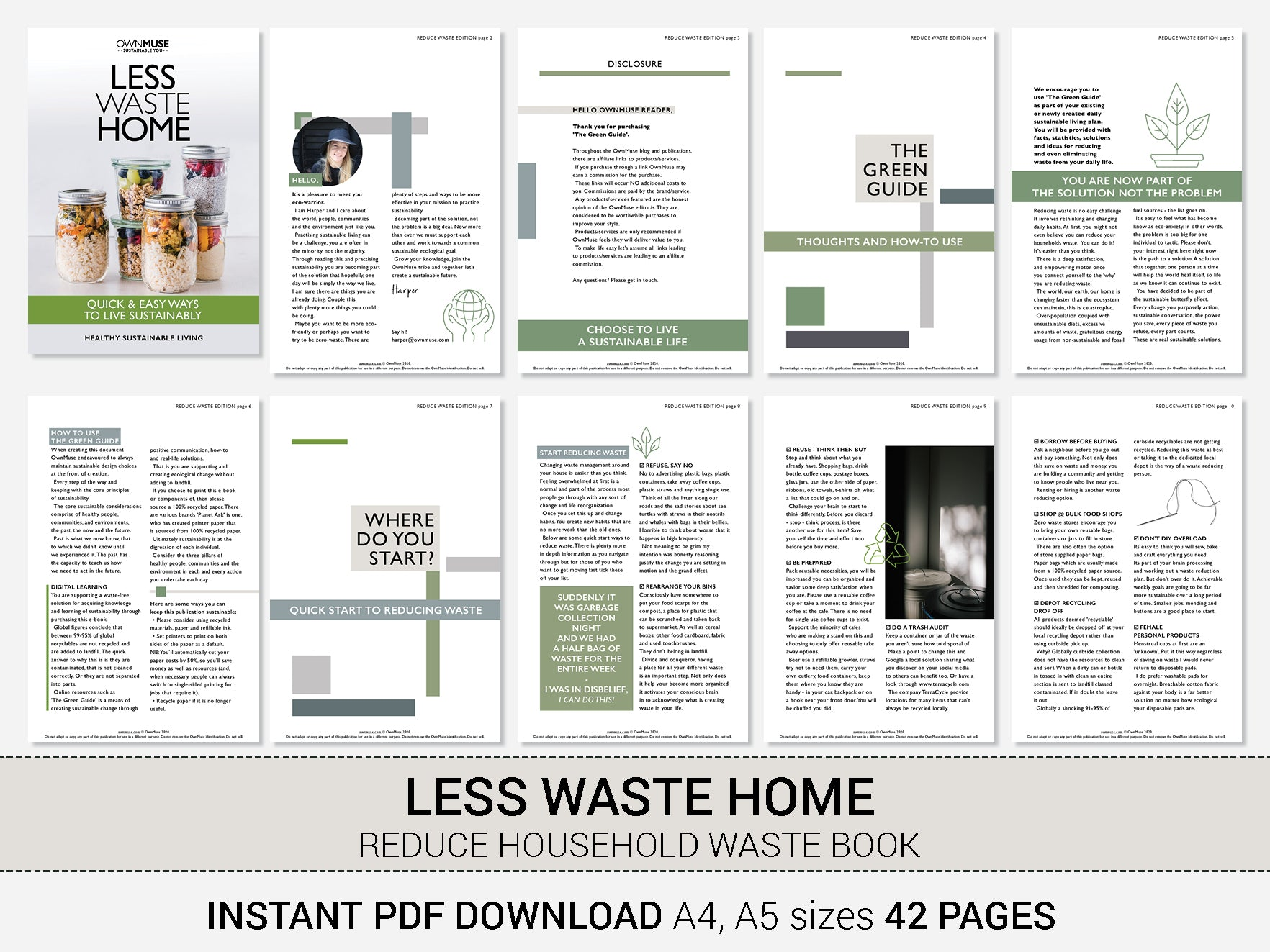 Less Waste Home Ebook; Step-by-step Sustainable Living