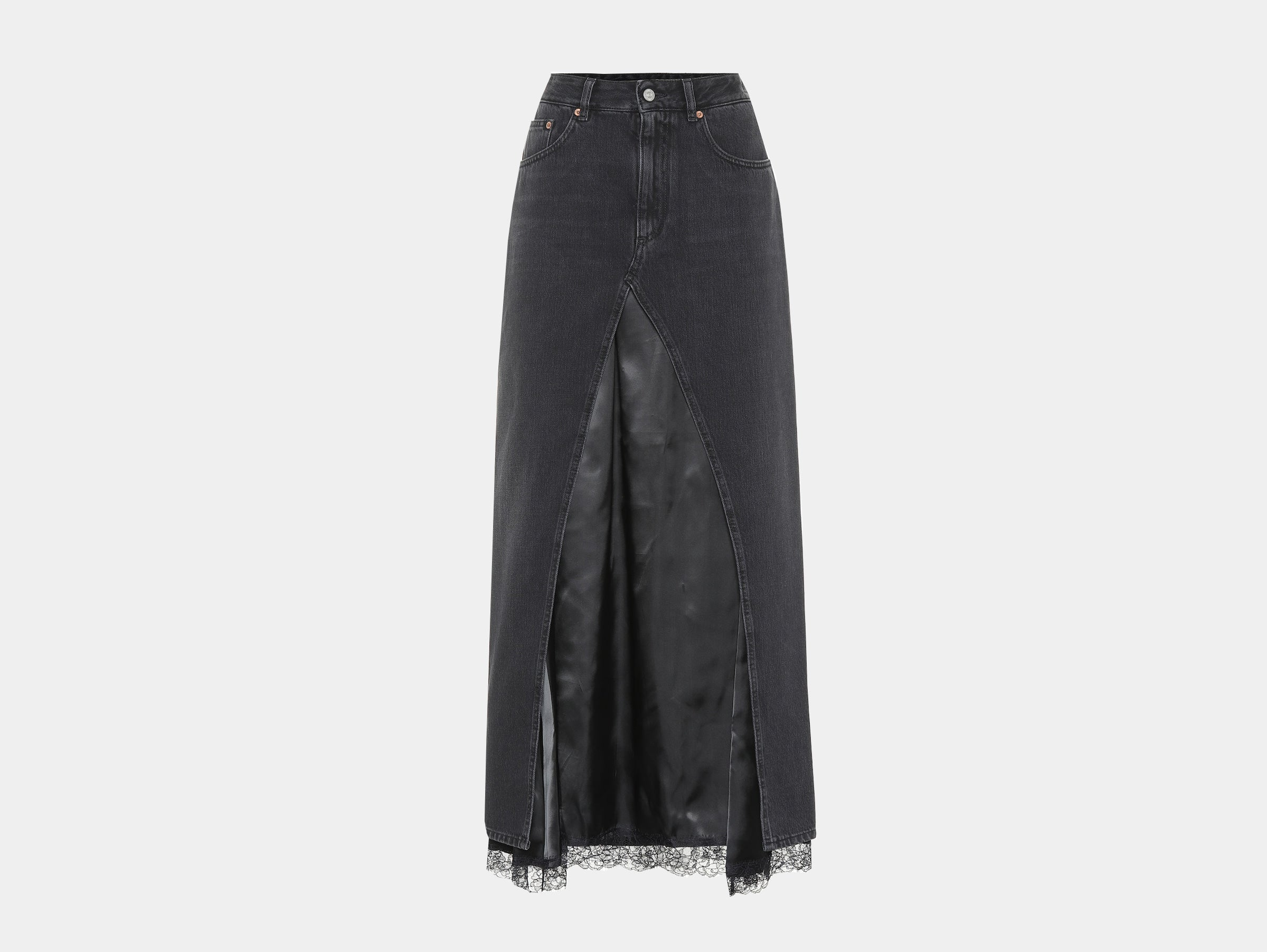 MM6 Maison Margiela - Black denim lace and satin midi skirt