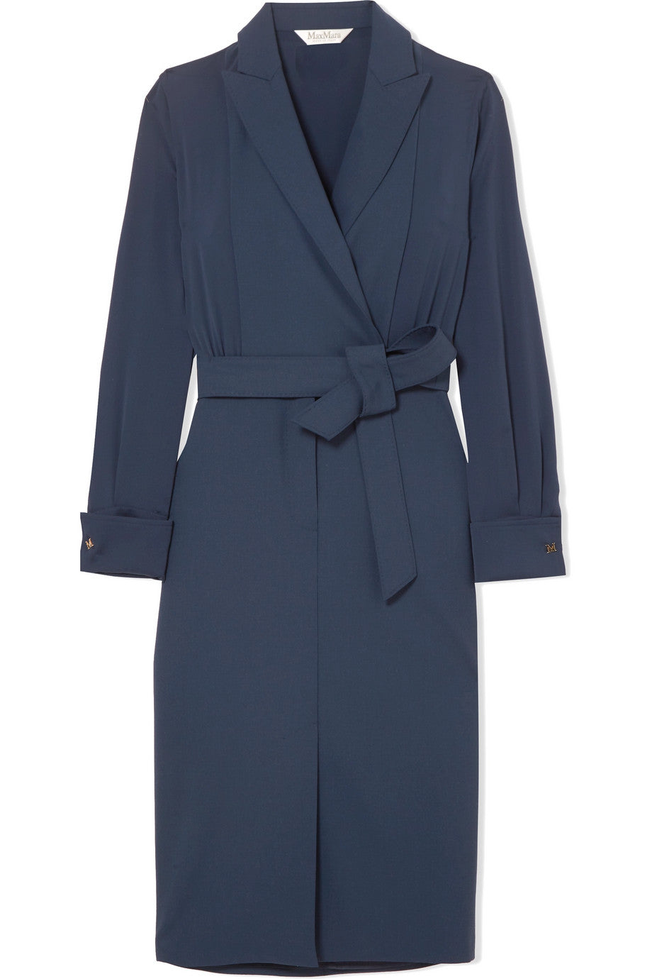 Max Mara - Navy blue wool and silk wrap dress featured in Capsule Wardrobe on ownmuse.com