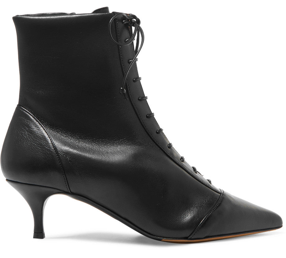 Tabitha Simmons - Black leather lace-up pointed-toe ankle boot featured in Capsule wardrobe on ownmuse.com