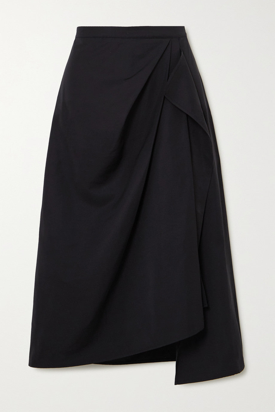 The R Collective + Net Sustain Welland Asymmetric Draped Taffeta Black Midi Skirt