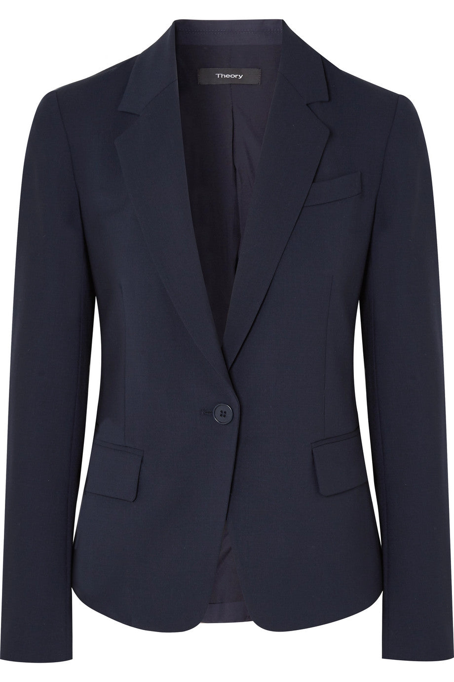 Theory - Gabe wool navy blue blazer featured in Capsule wardrobe on ownmuse.com
