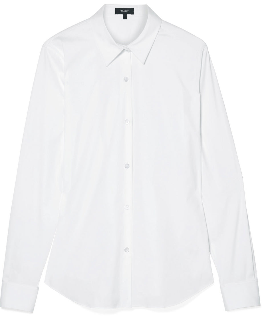 Theory - Tenia white cotton shirt featured in Capsule Wardrobe on ownmuse.com