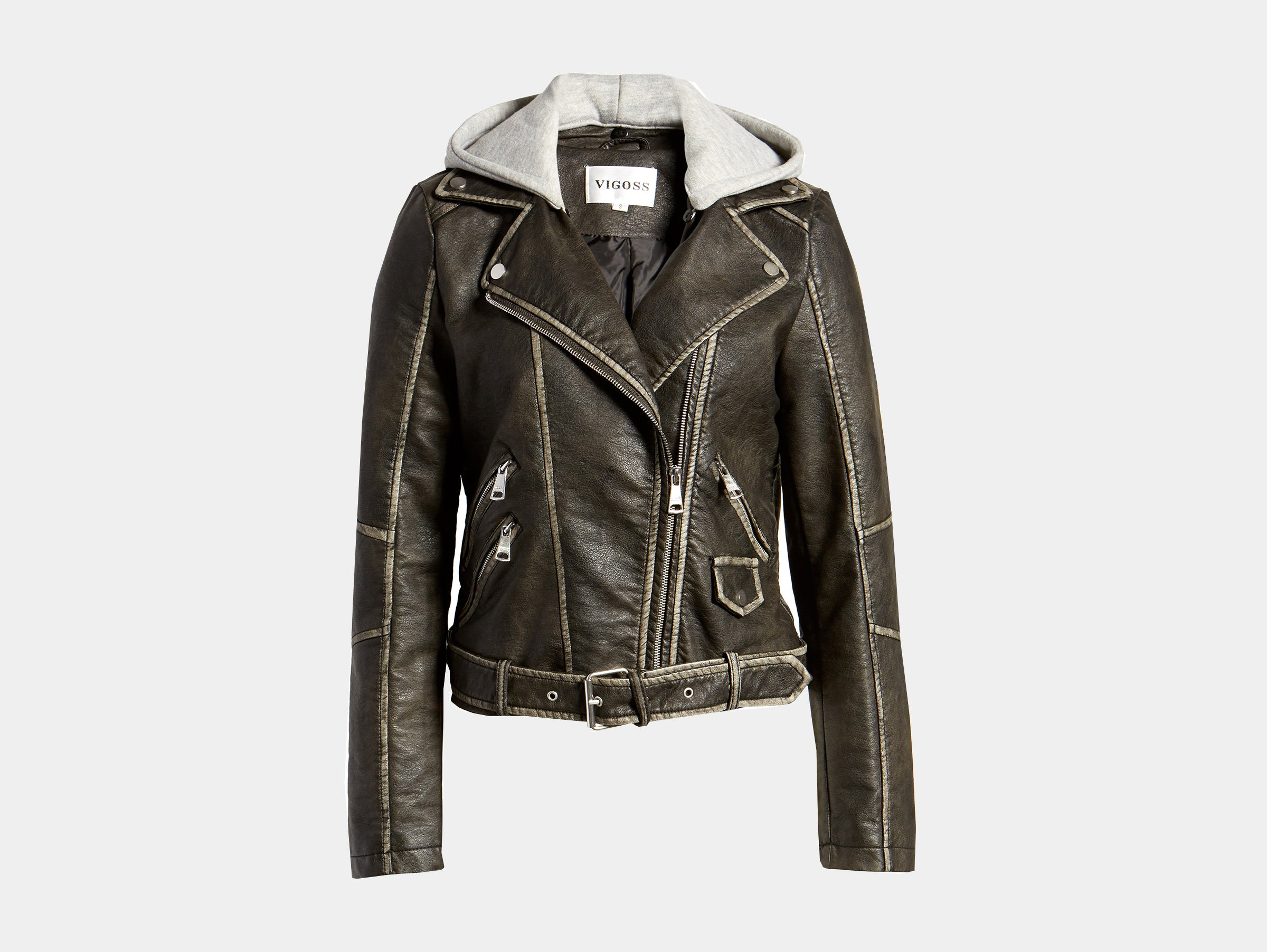 VIGOSS - Hooded washed vegan faux leather moto jacket