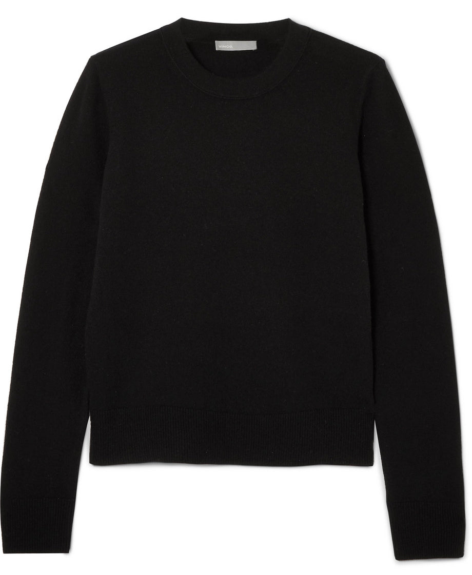 Vince - Black cashmere sweater jumper featured in Capsule wardrobe on ownmuse.com