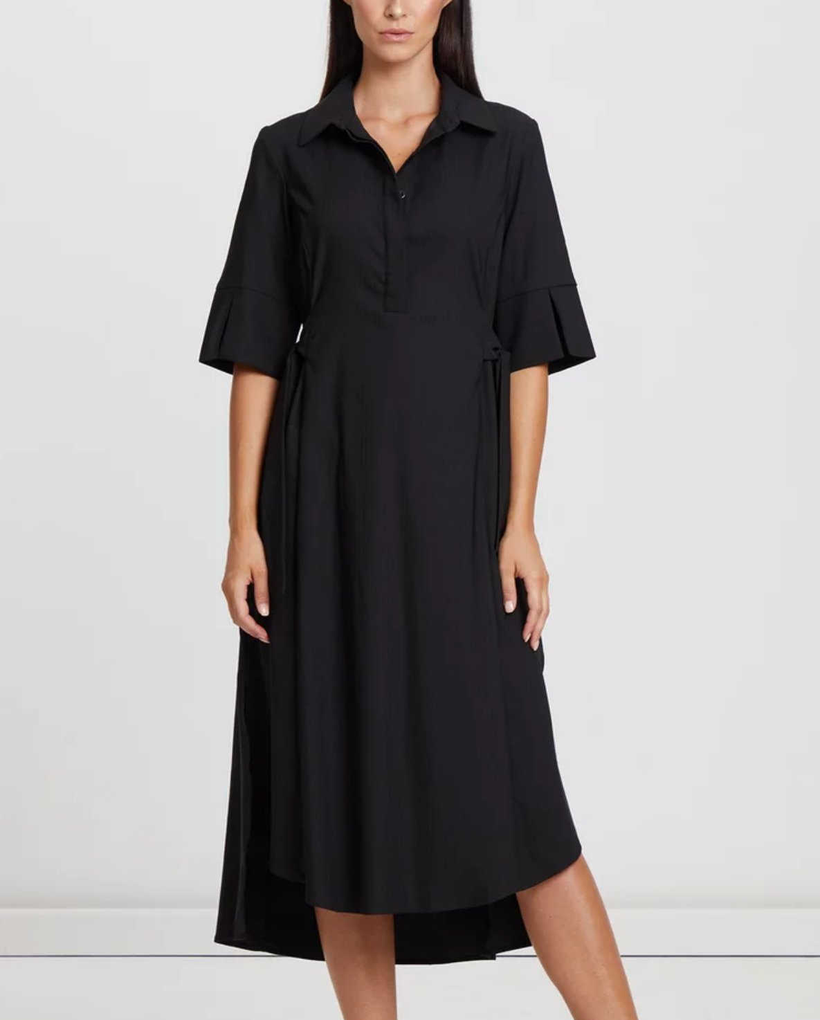 Willa - Black button-up Bowery collared shirt dress
