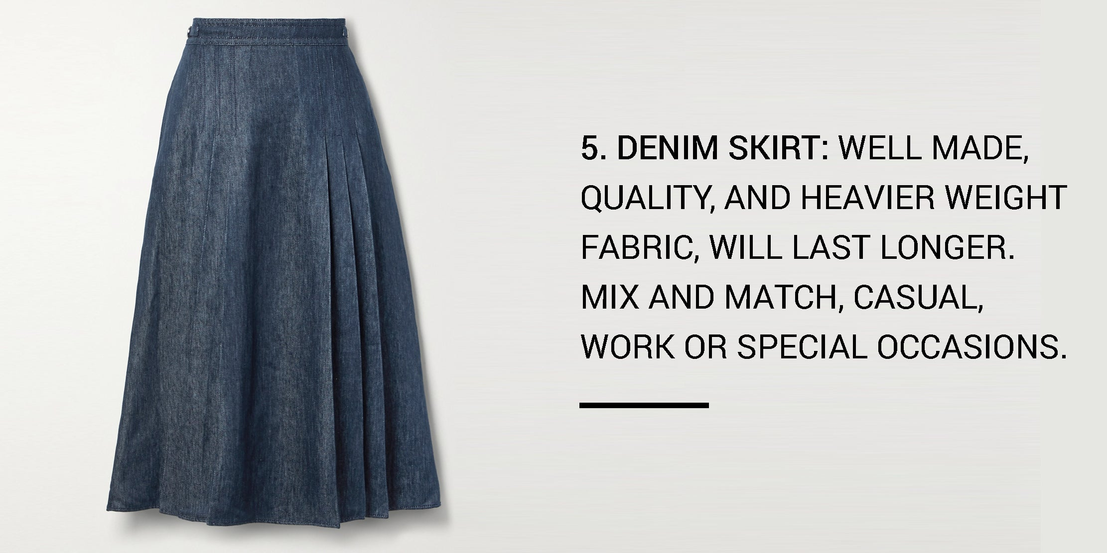 Year Round Capsule Wardrobe - 20 Essential Pieces - pleated skirt -ownmuse