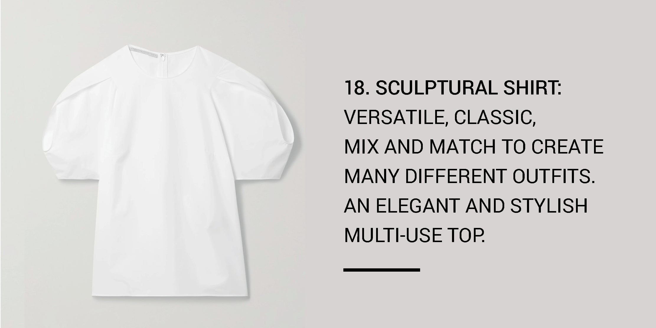 Year Round Capsule Wardrobe - 20 Essential Pieces - sculptural shirt -ownmuse