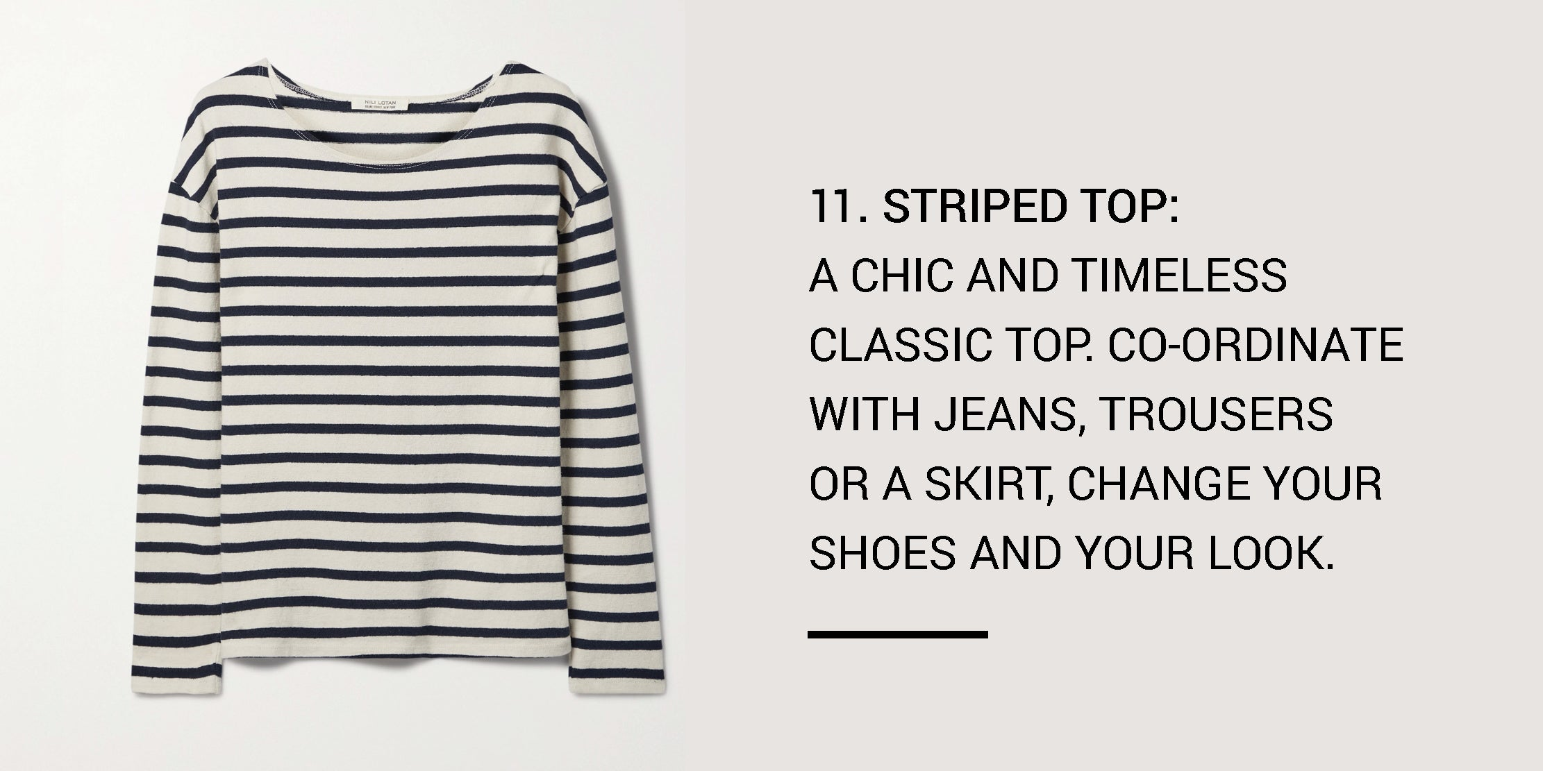 Year Round Capsule Wardrobe - 20 Essential Pieces - striped top -ownmuse