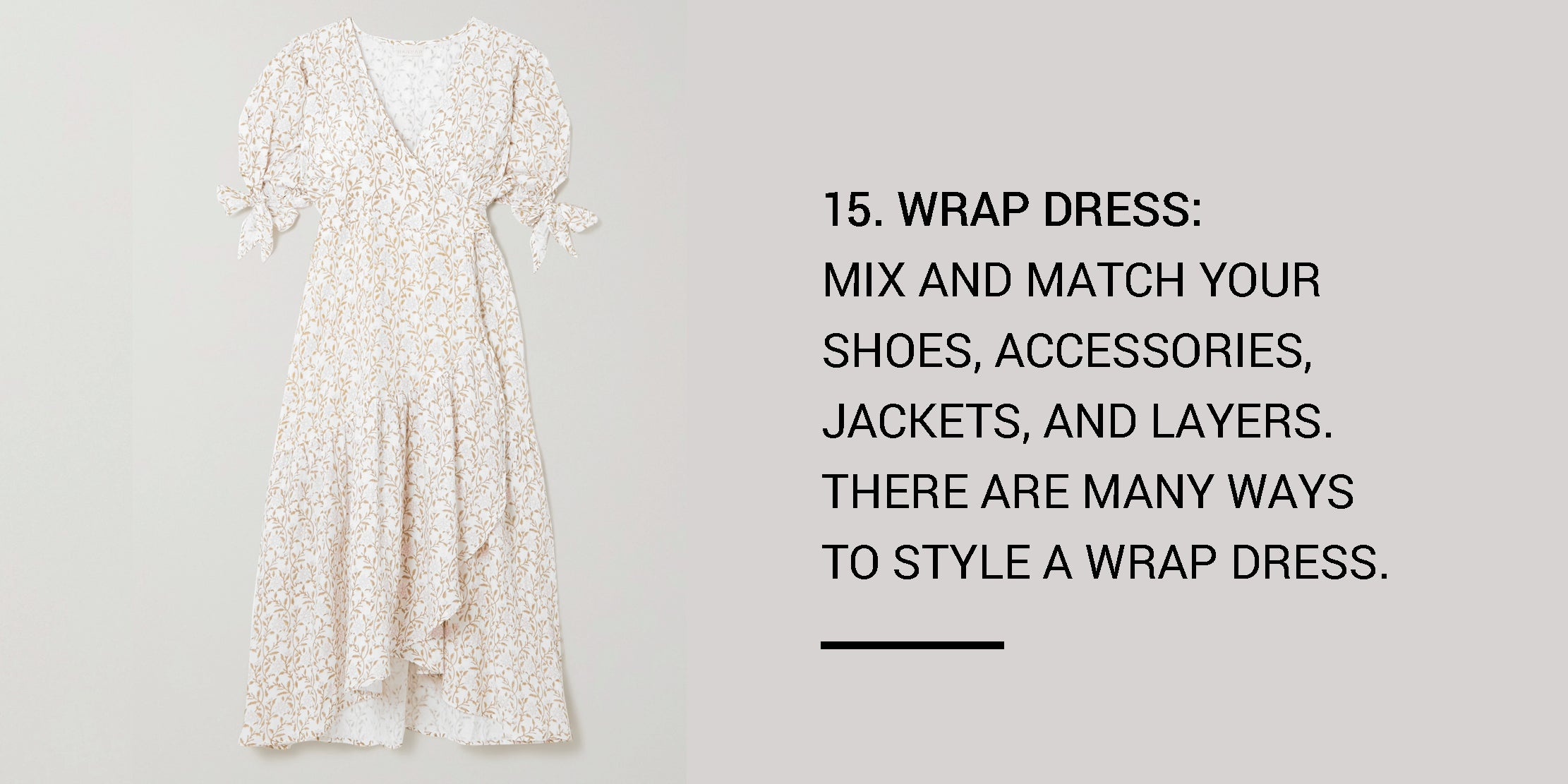 Year Round Capsule Wardrobe - 20 Essential Pieces - wrap dress -ownmuse