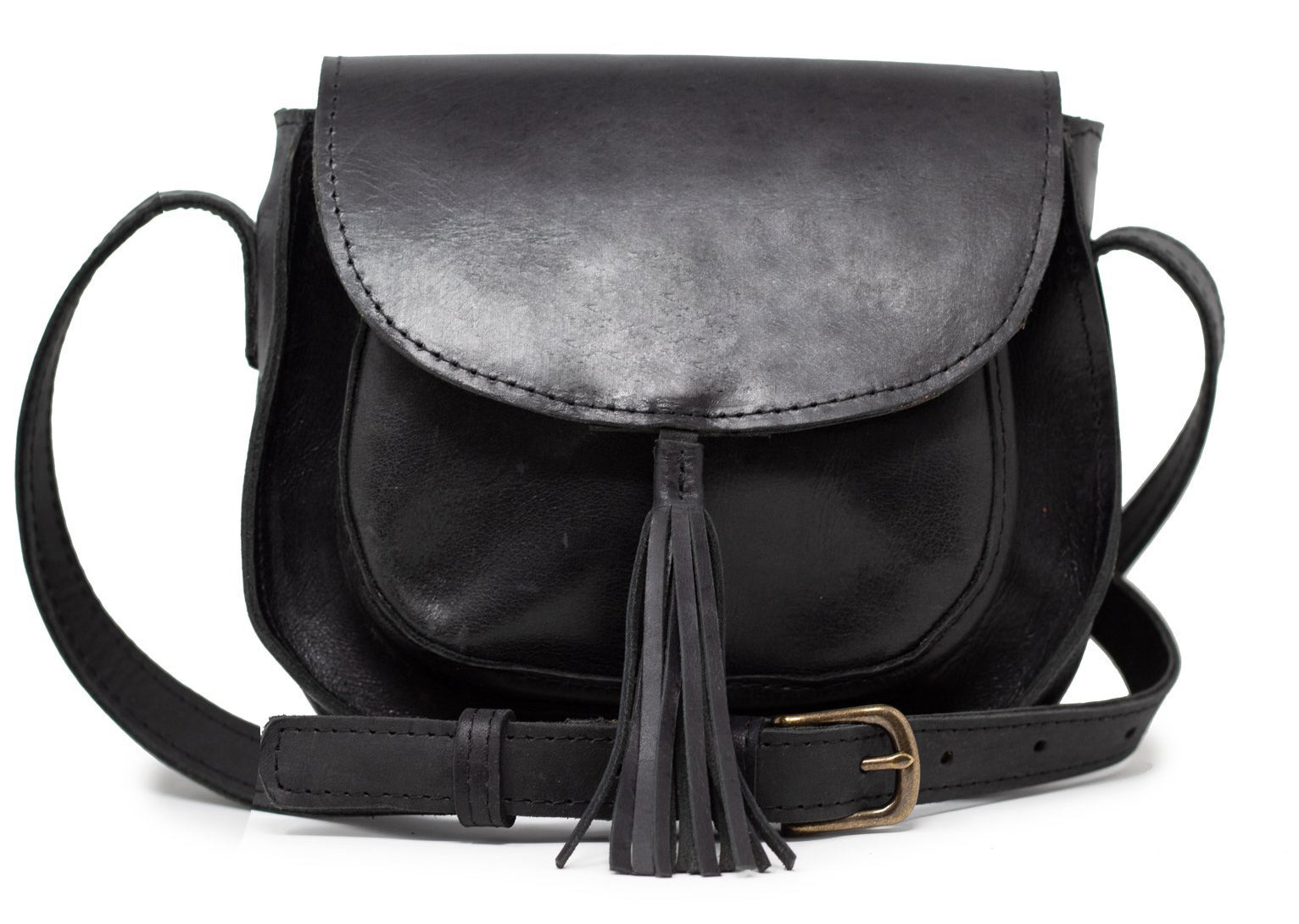 Able - Black leather shoulder bag - S19 tassel crossbody black bag