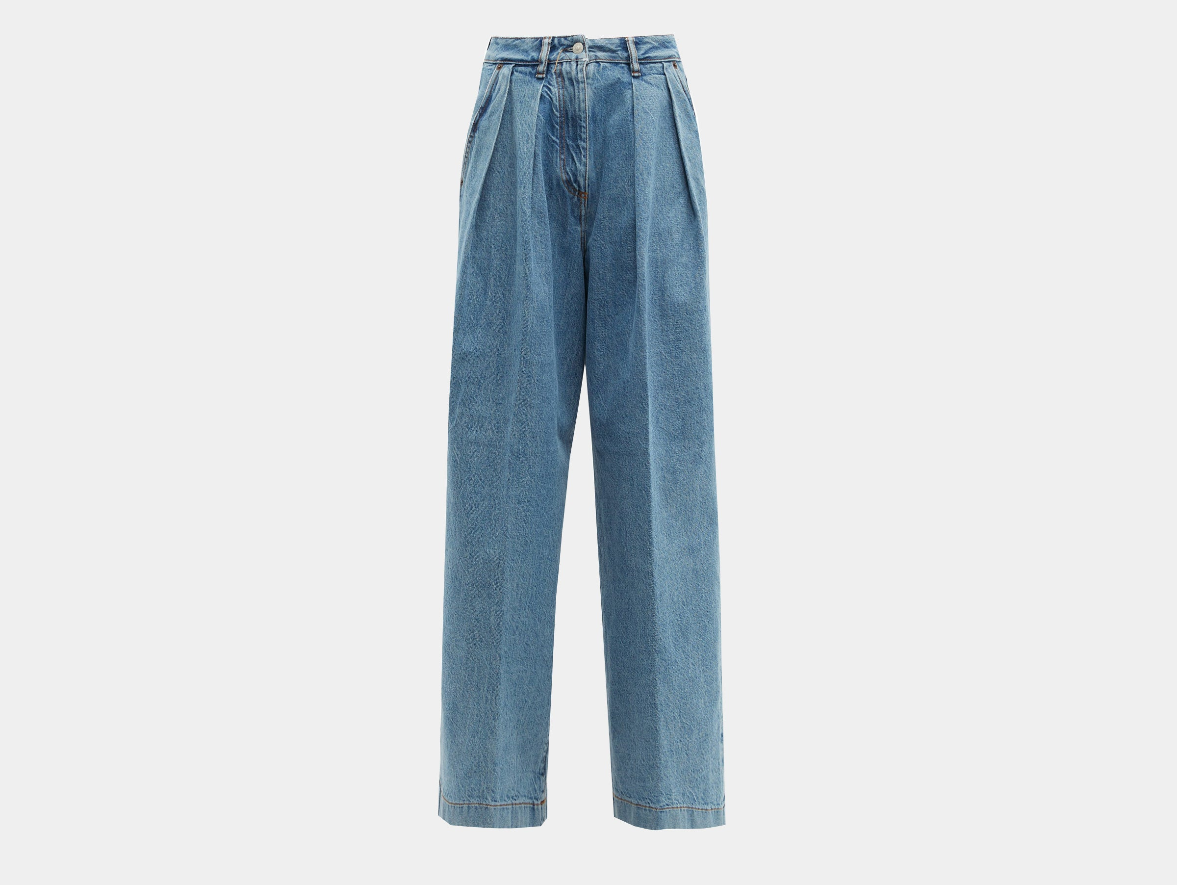 Acne Studios - Pakita high rise pleated wide-leg blue denim jeans