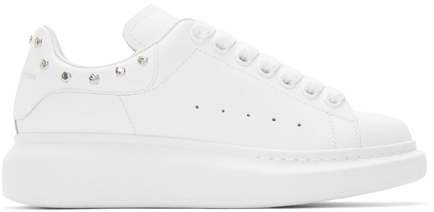 Alexander Mcqueen - White leather sneakers with silver studs