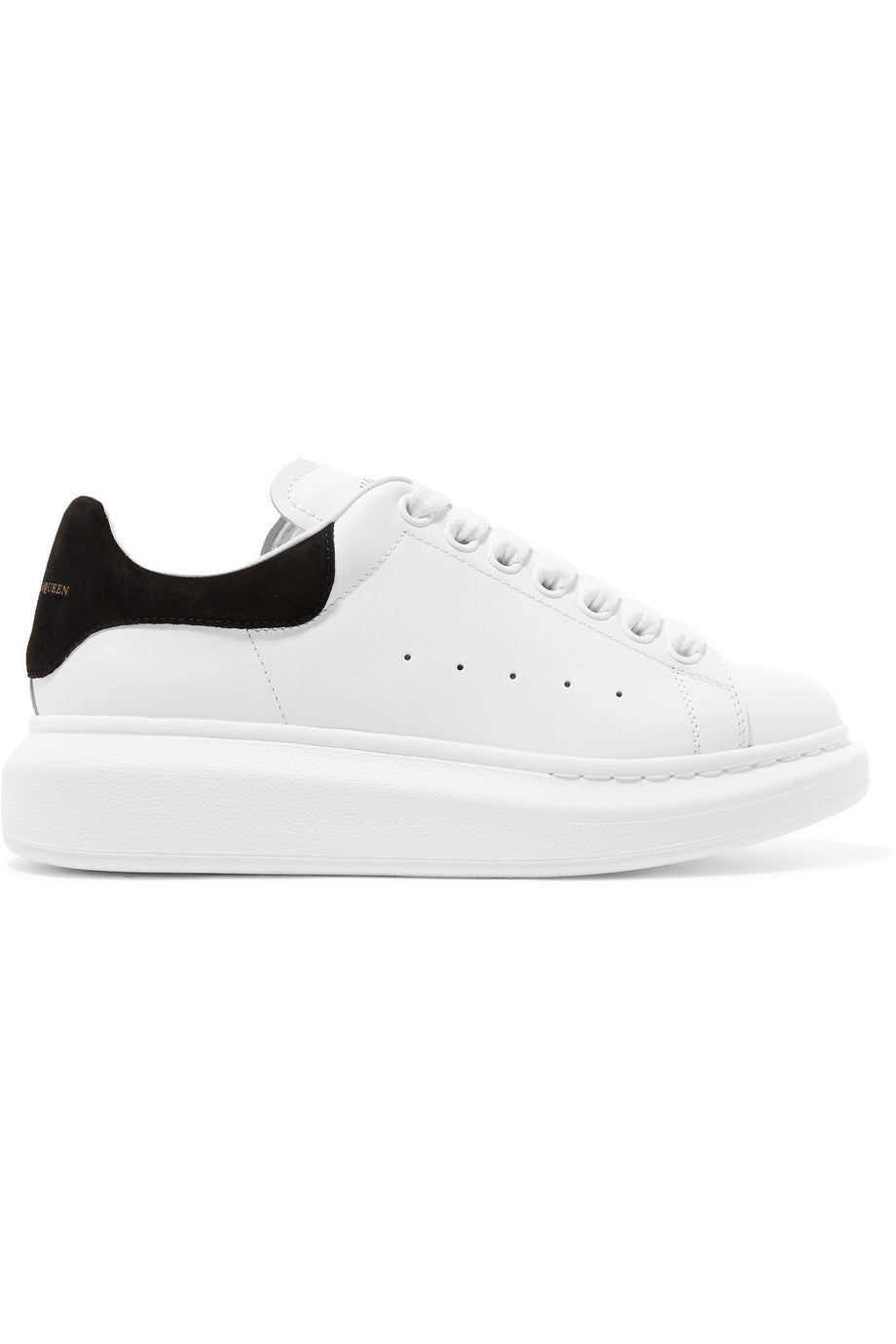 Alexander Mcqueen - White suede-trimmed leather exaggerated sole sneakers