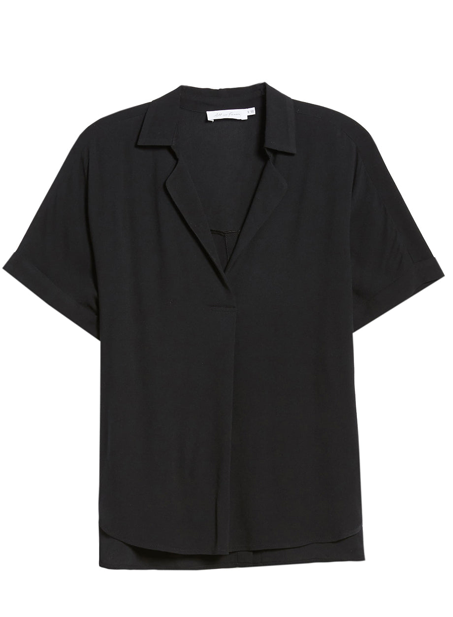 All in Favor - Button-up black short-sleeve shirt