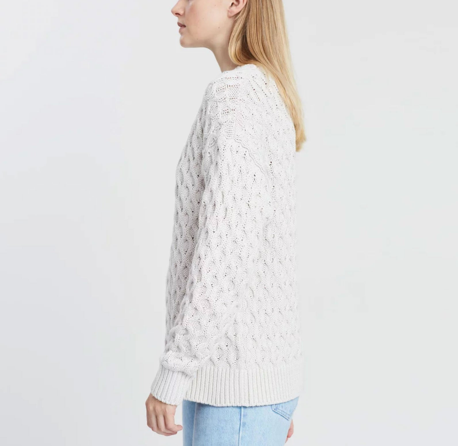 Assembly Label - White cotton cable knit sweater jumper