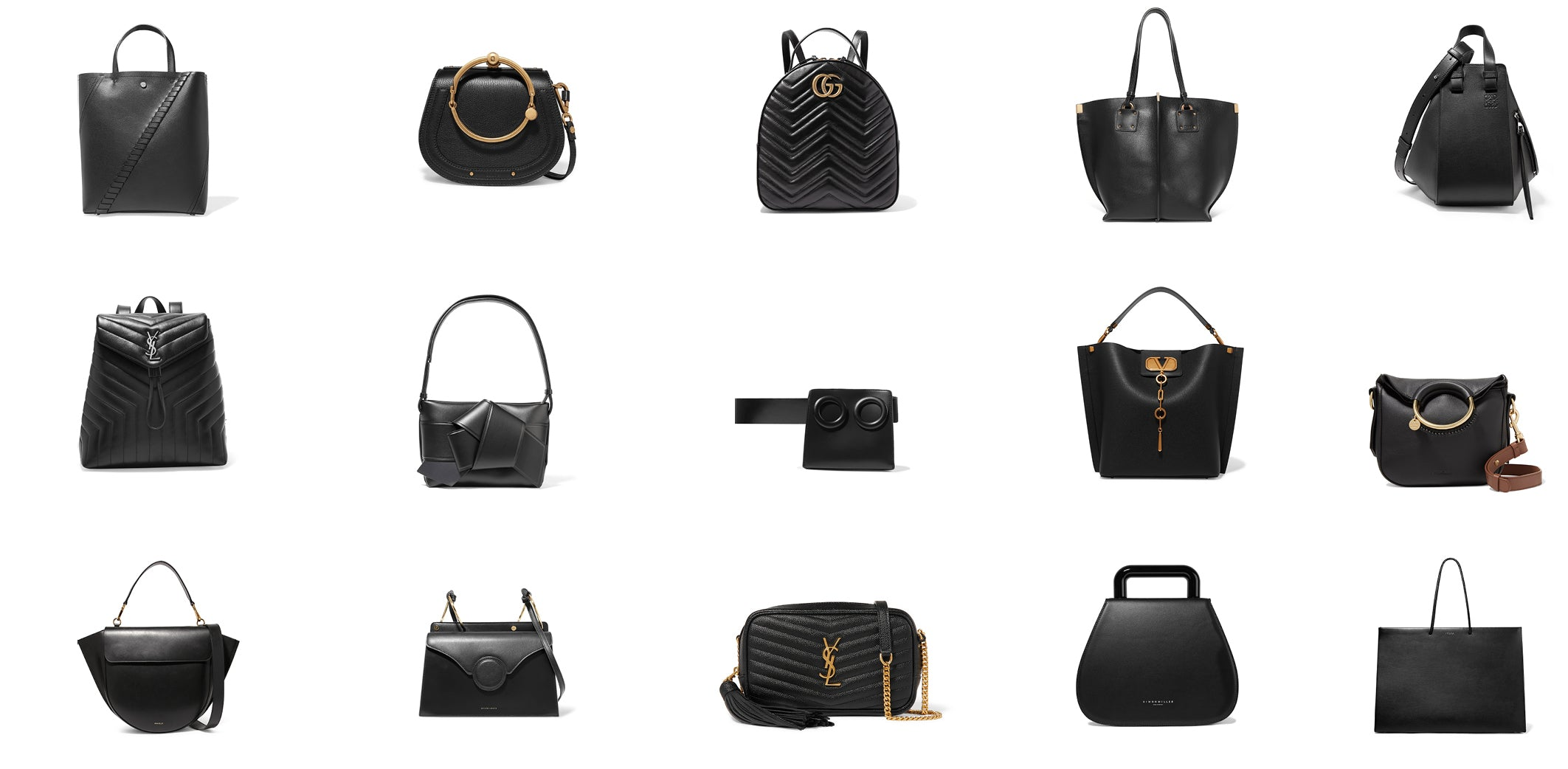 Black designer fashion bags - Capsule wardrobe collection Own Muse Ownmuse