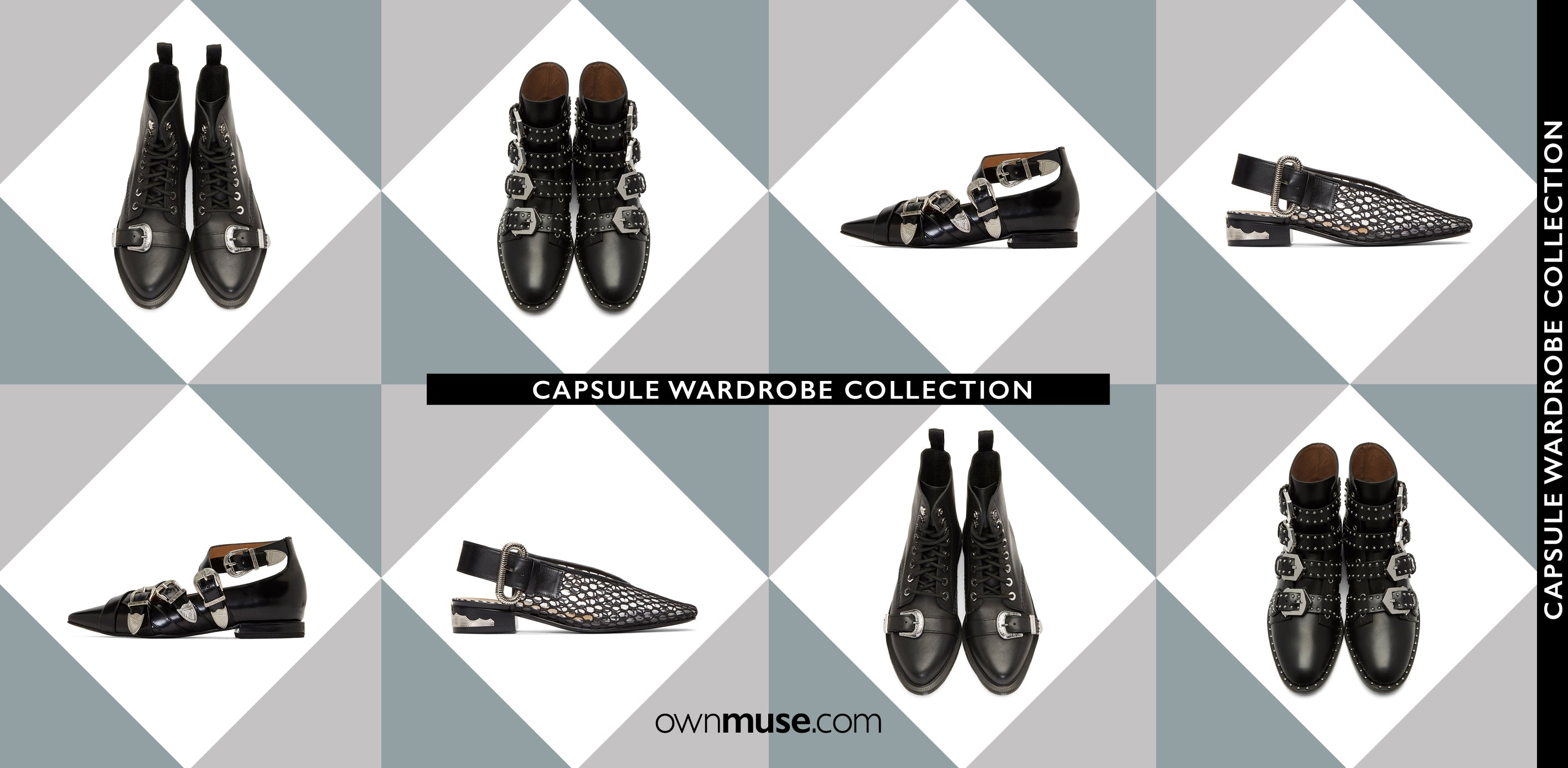 Capsule wardrobe collection black leather shoes