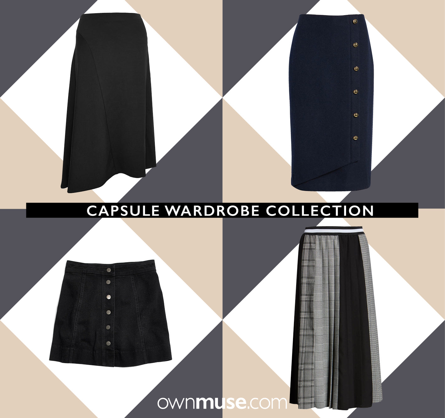 Capsule wardrobe collection pleated denim asymmetric black blue grey gray skirts