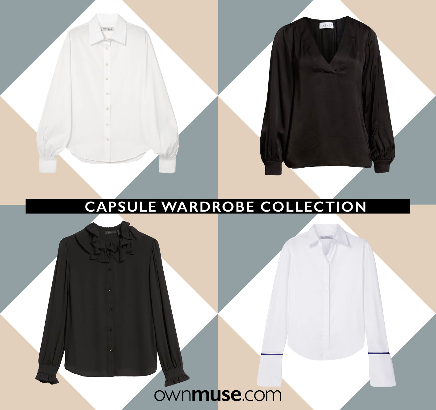 Capsule wardrobe collection shirts blouses tops