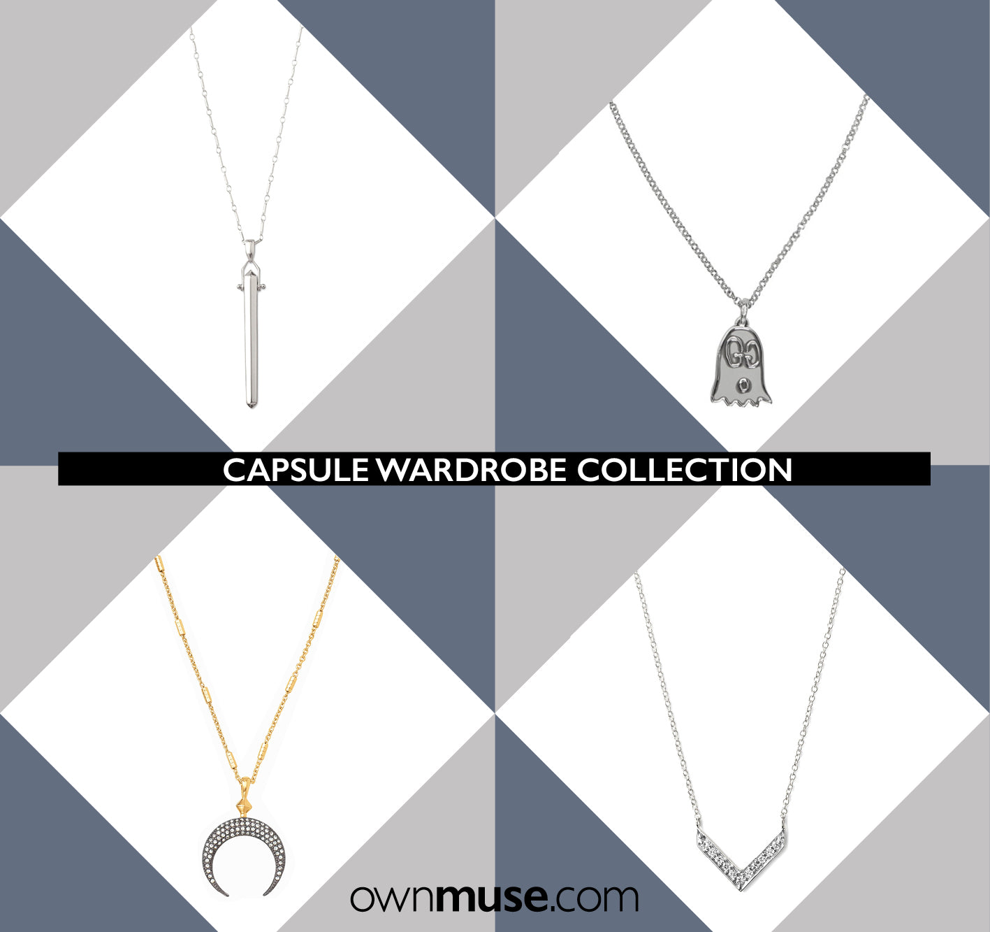 Capsule wardrobe collection - Silver pendant necklaces