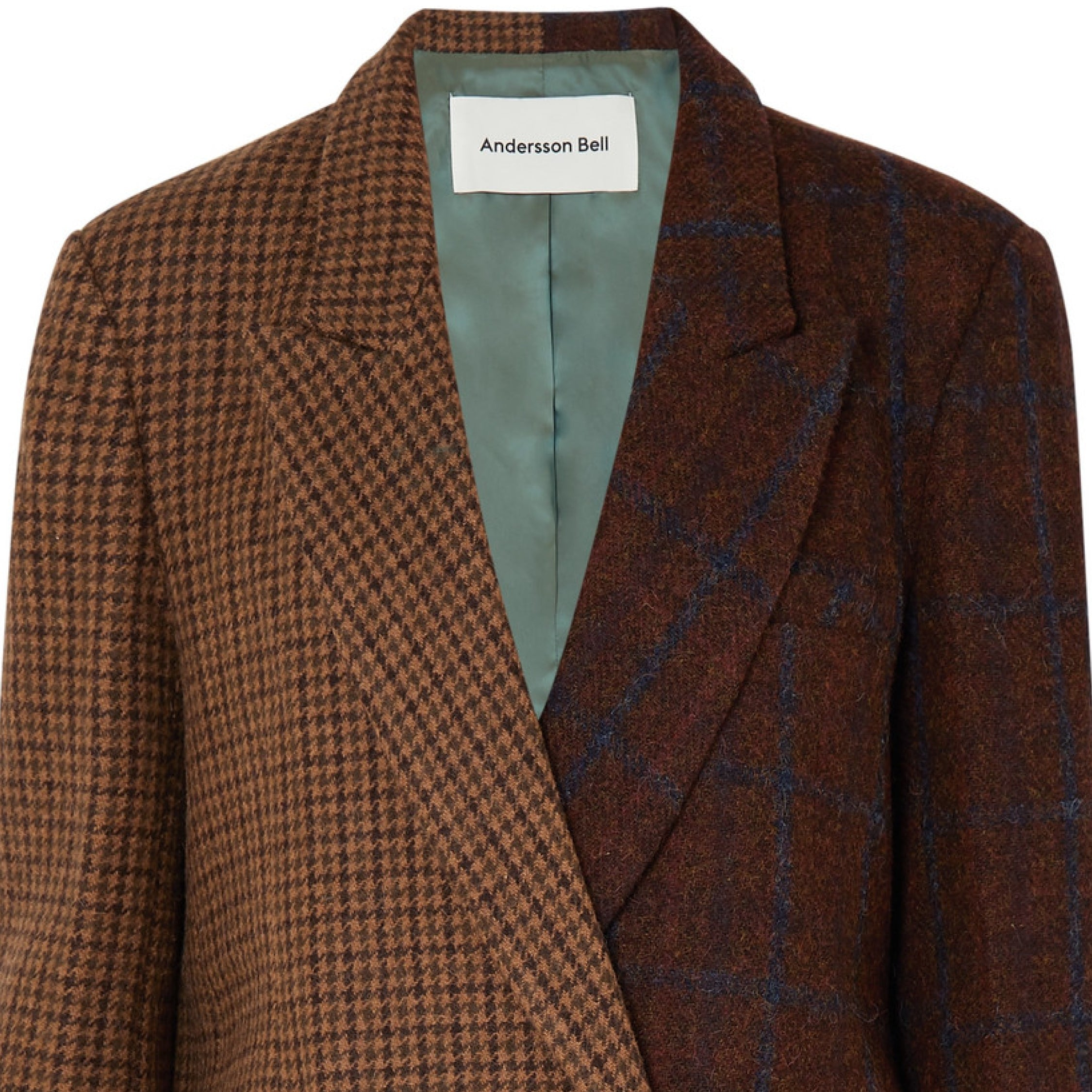 Andersson Bell - Capsule wardrobe jackets - Olga Asymmetric Paneled Checked Wool And Alpaca-blend Blazer