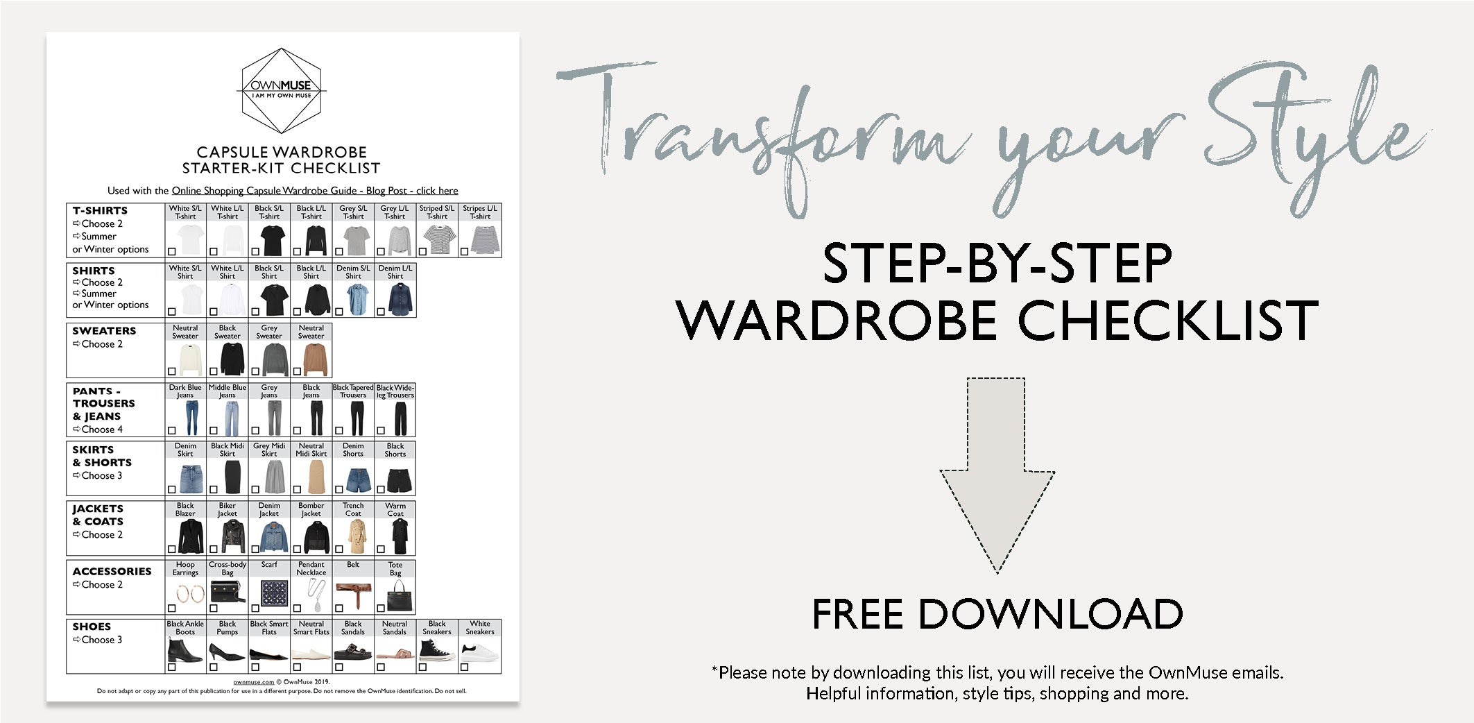Capsule wardrobe starter-kit checklist and guide - free printable