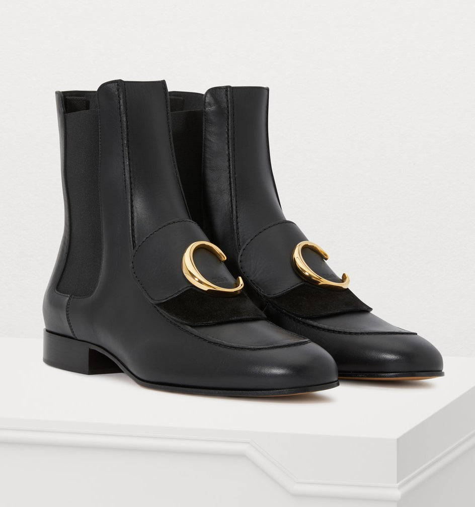 Chloe - Black leather ankle boots