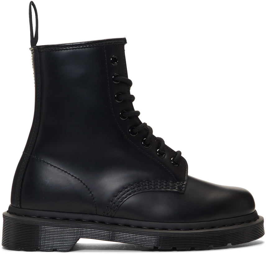 Dr Martens - Doc Boots - Black leather ankle boots 1460 mono 8 Eye