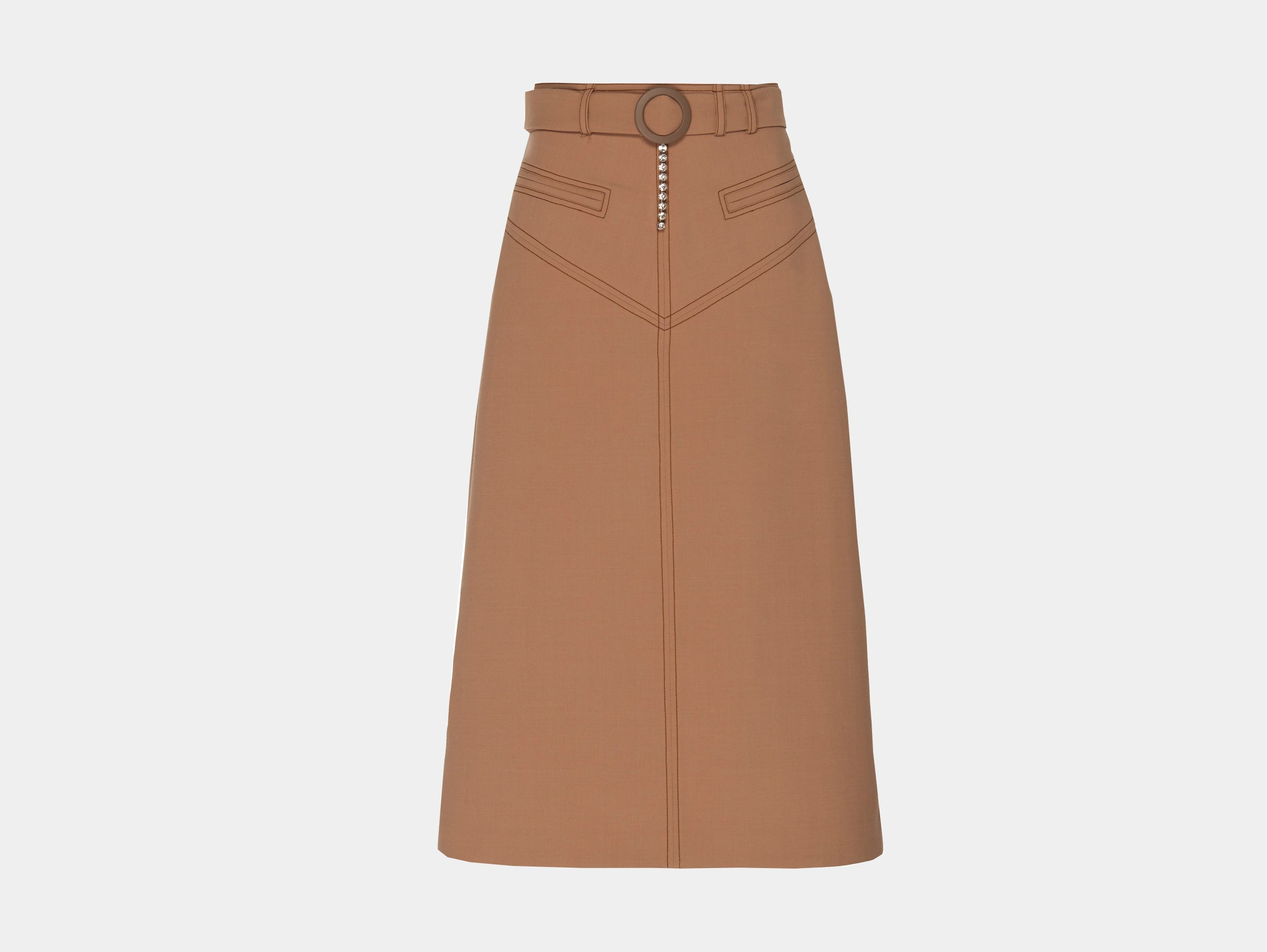 Ellery - Brown beige neutral tailored A-line matango belted midi skirt