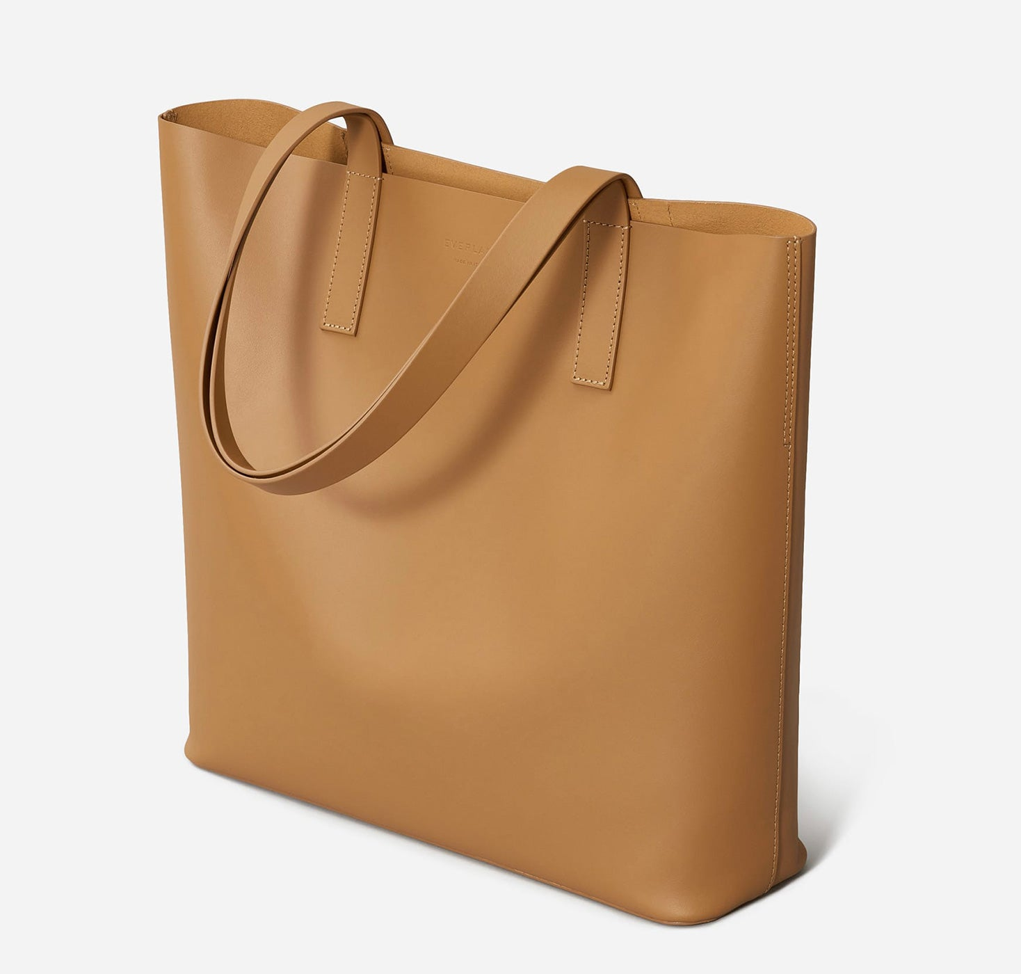 Everlane - brown leather- square everyday tote bag