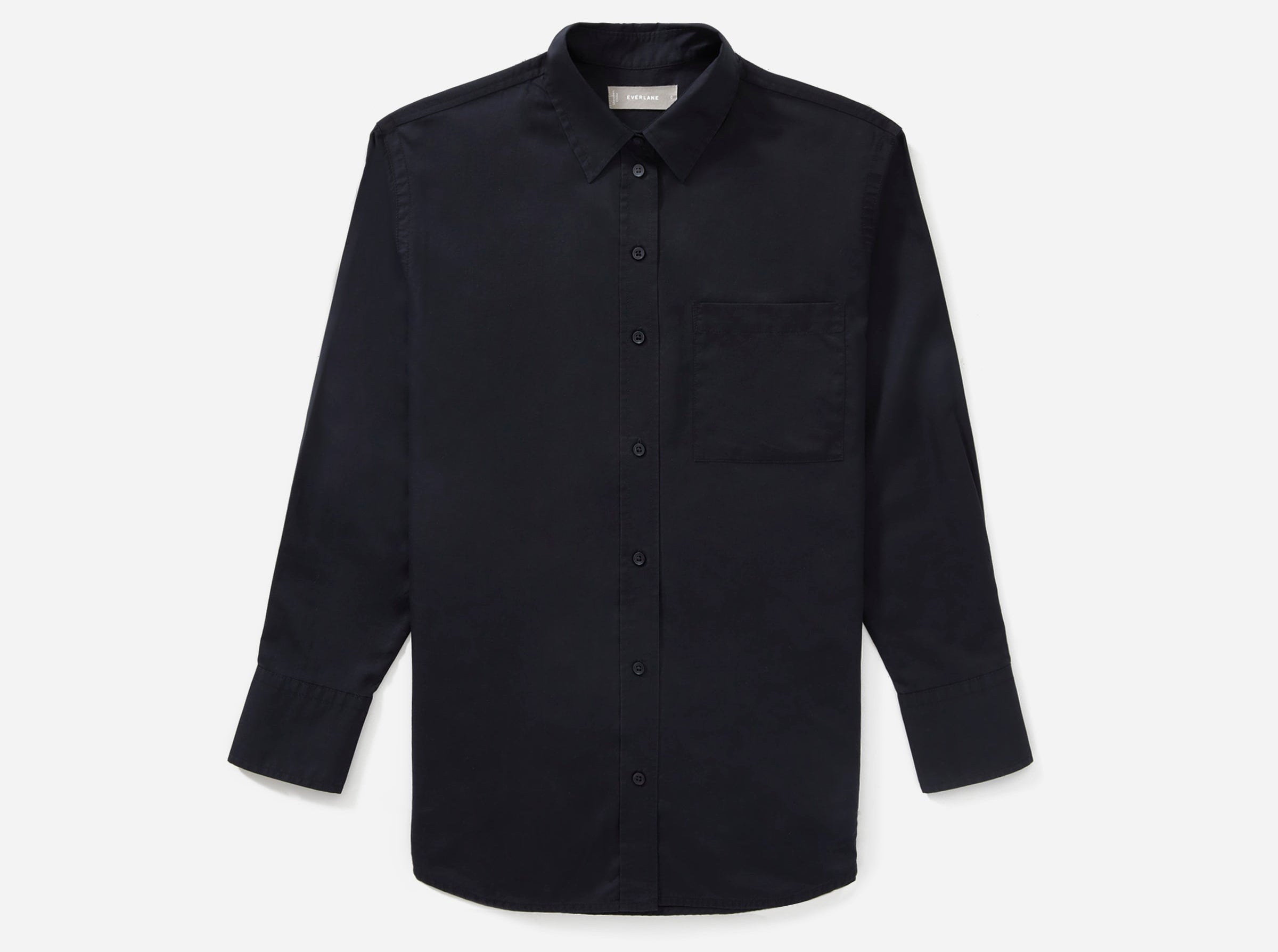 Everlane - Silky cotton oversized classic black button-up shirt