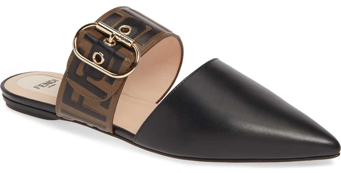 Fendi - Black mule big buckle shoes