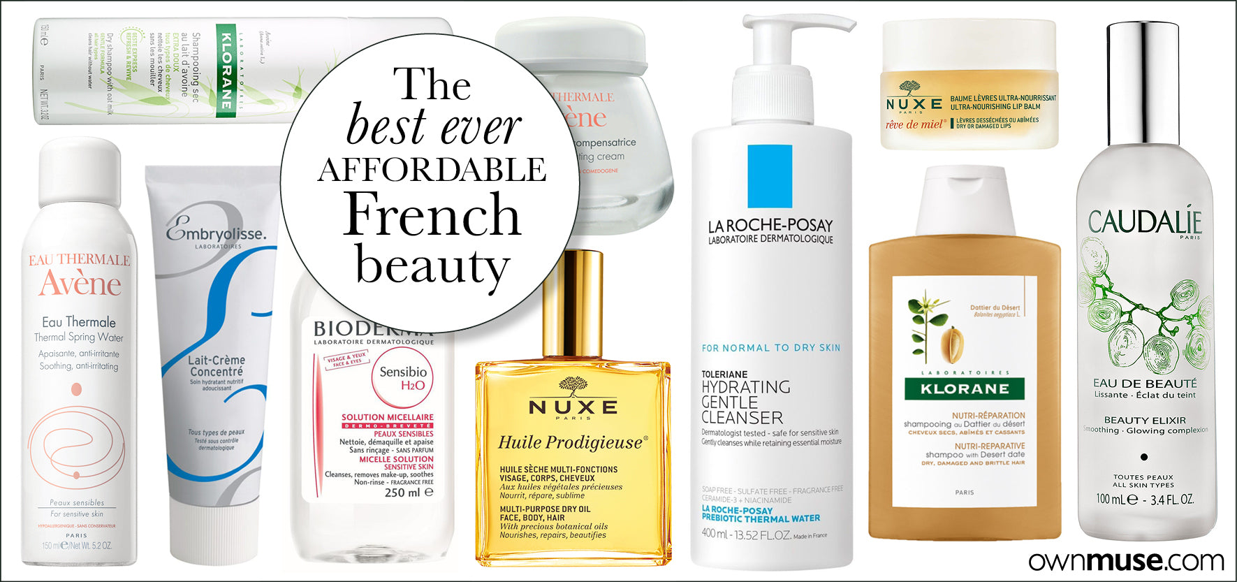 The best ever selection of French beauty products - collage design - ownmuse.com