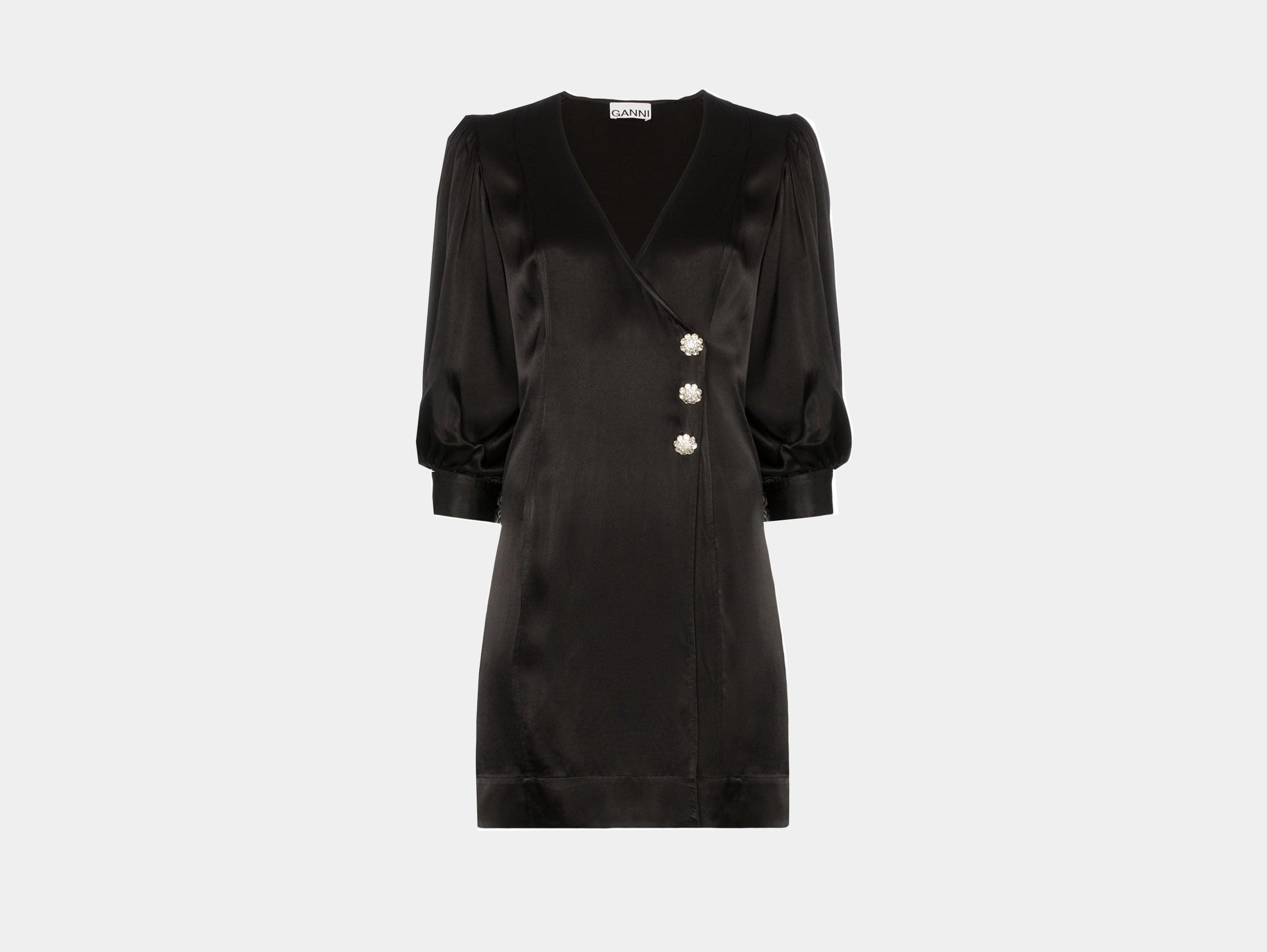 Ganni - Black wrap front balloon sleeves dress