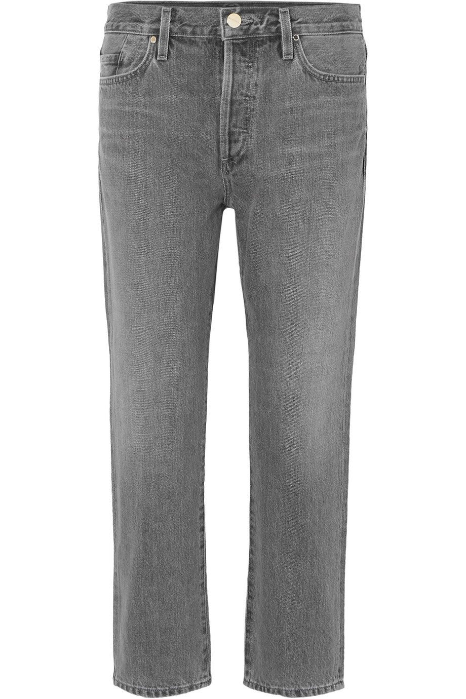 Goldsign - 'The low slung' grey gray denim cropped mid-rise straight-leg jeans