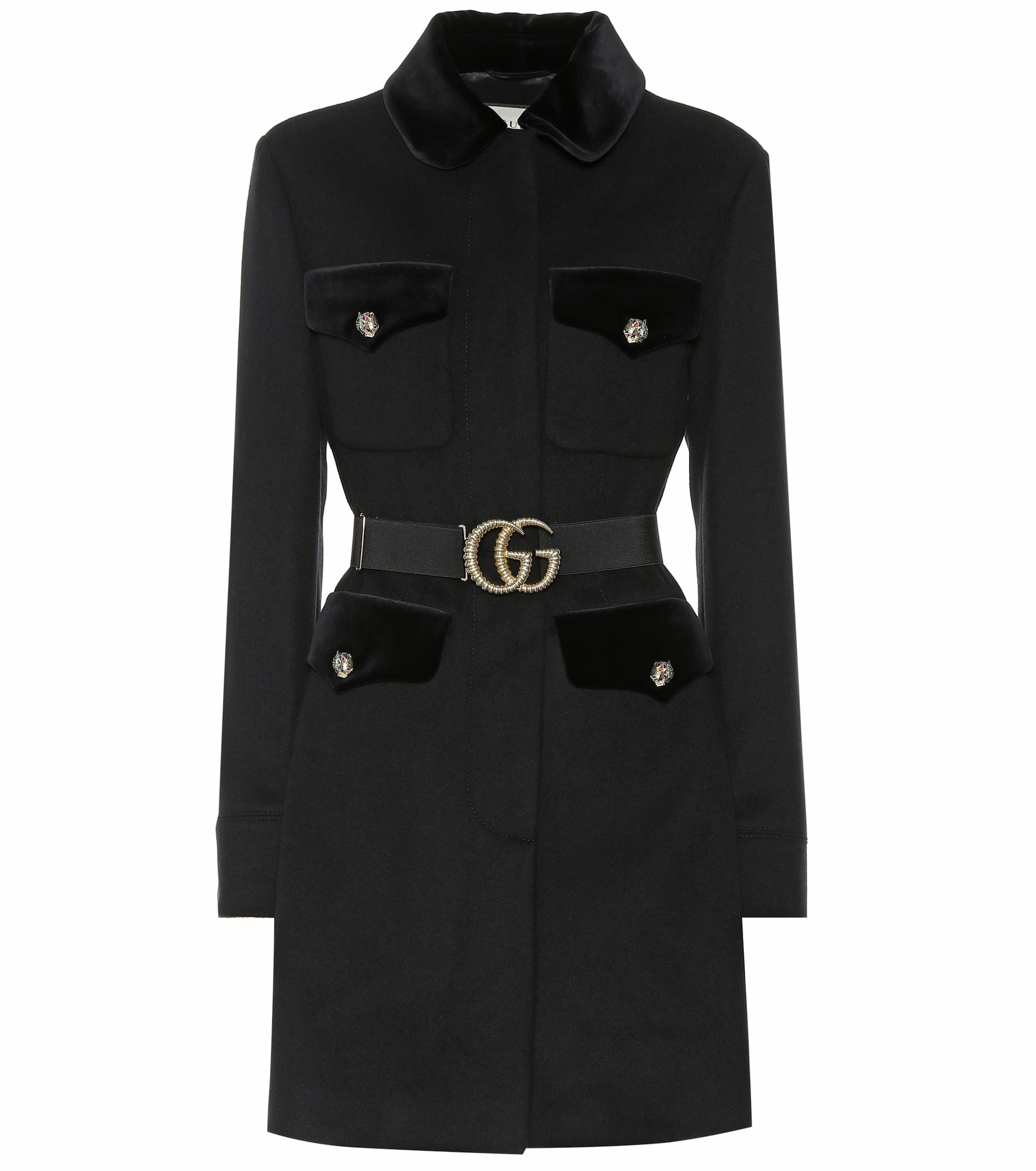Gucci - Black coat envy Embellished wool-blend capsule wardrobe