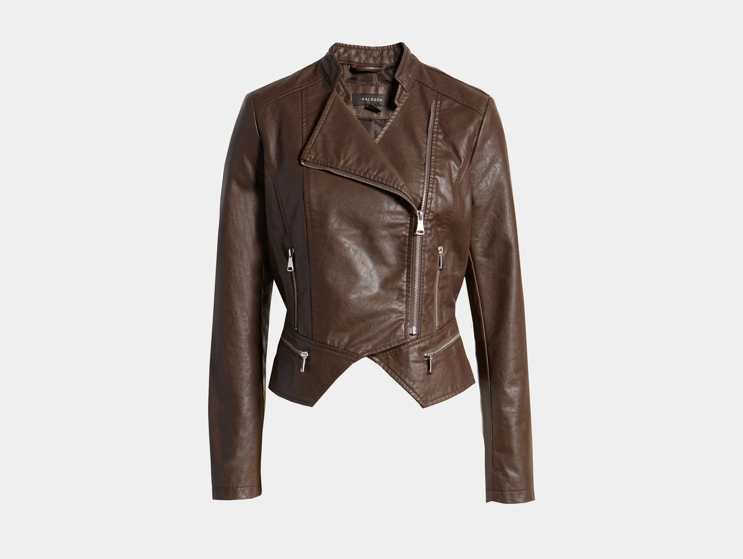 Halogen - Vegan faux brown leather moto jacket
