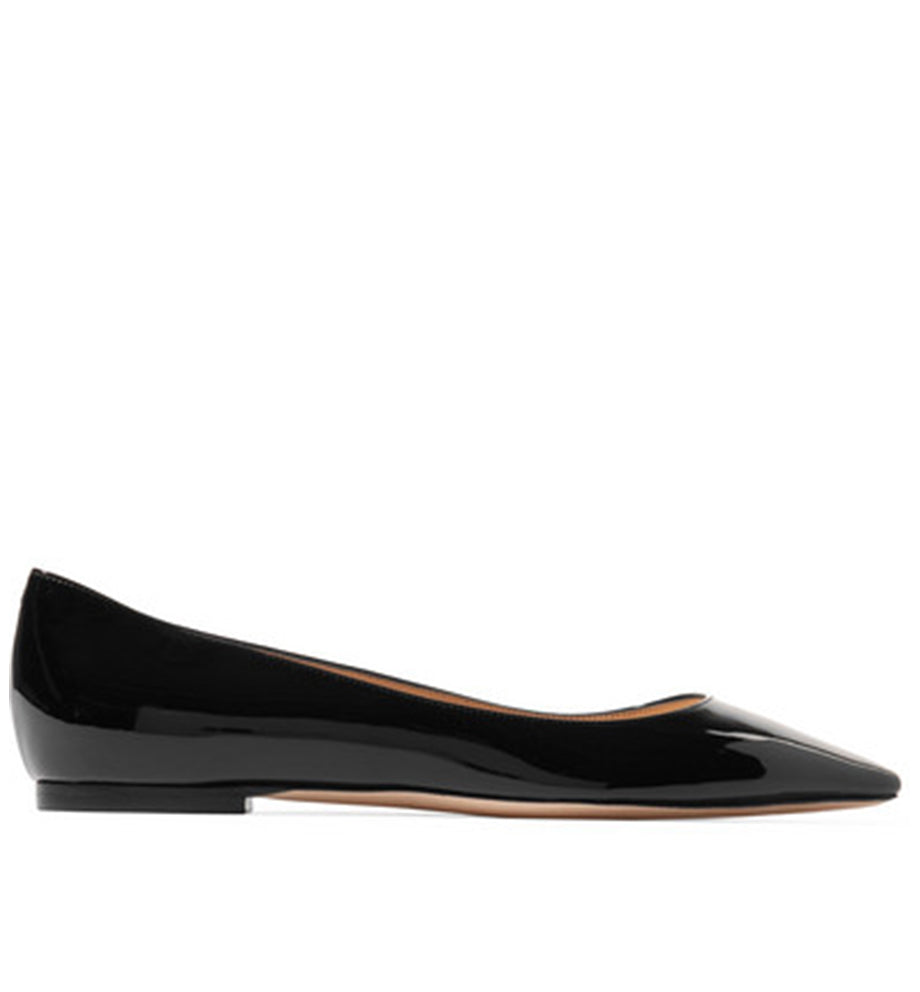 Jimmy Choo - Black patent leather pointed flat shoes