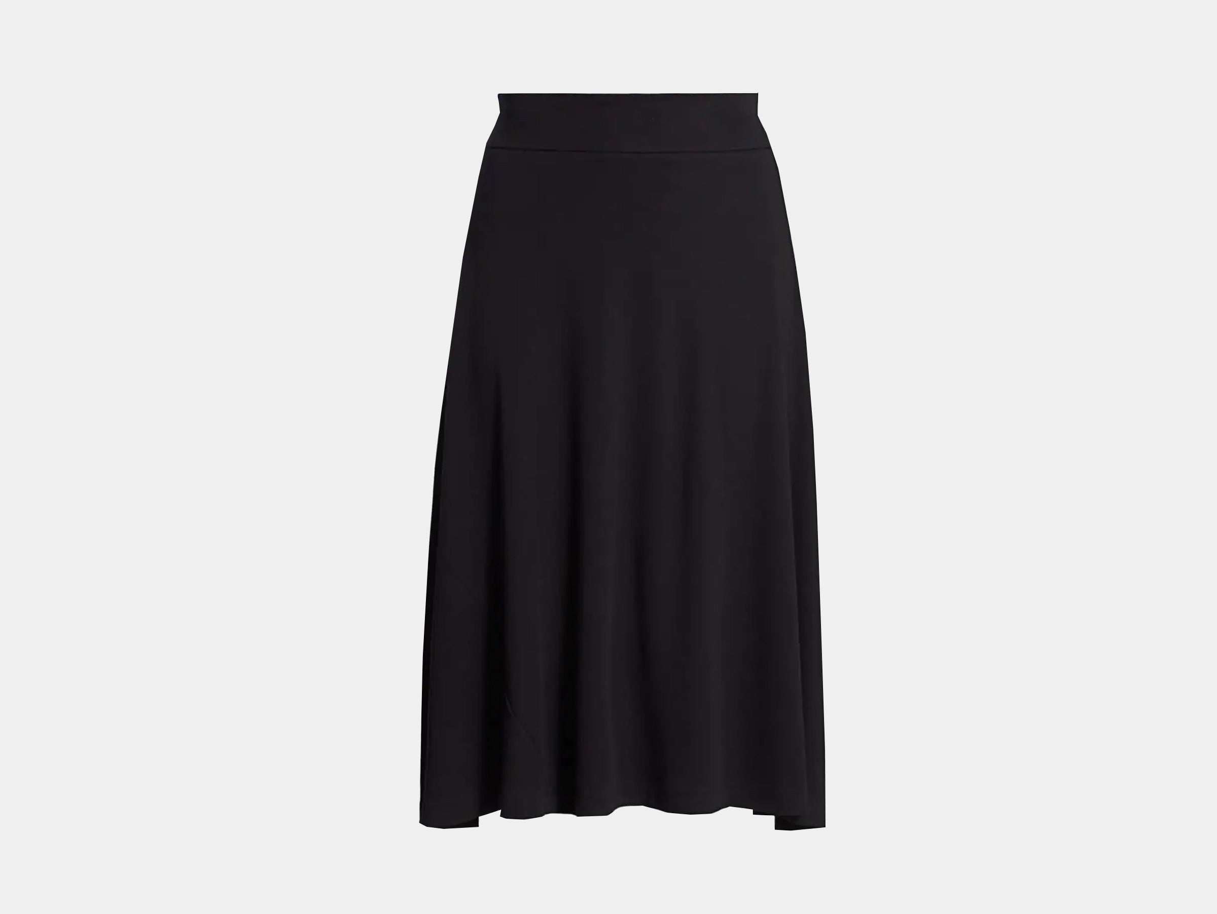 Joan Vass - Black plus size modern fit midi A-line midi skirt