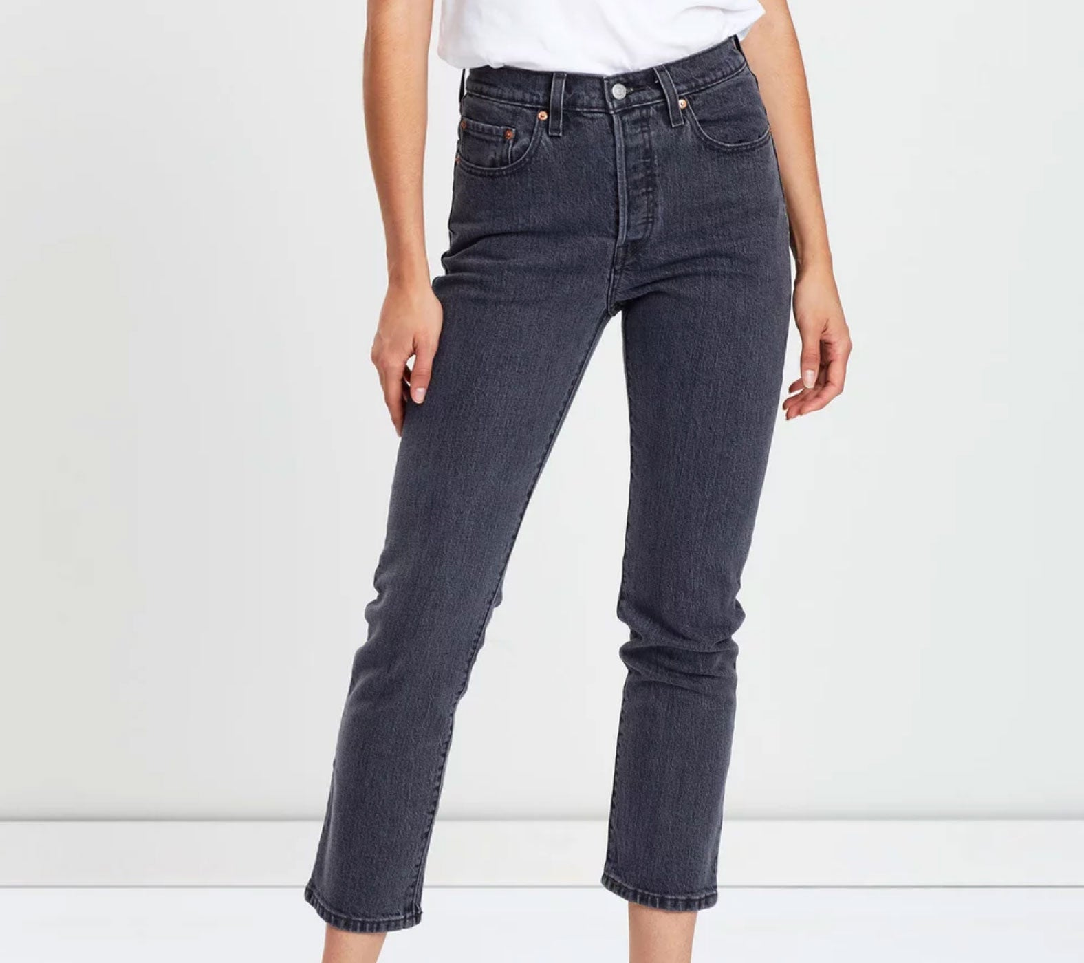 Levis 501 - crop black denim jeans