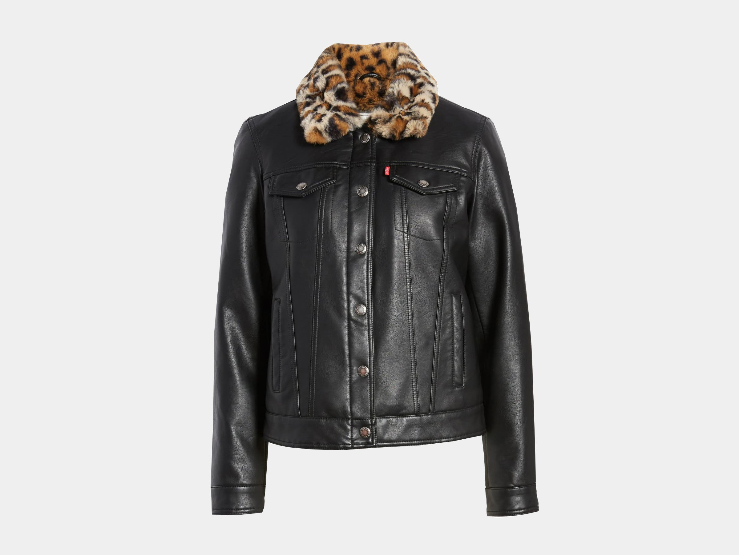 Levis - Black vegan faux leopard fur trucker jacket