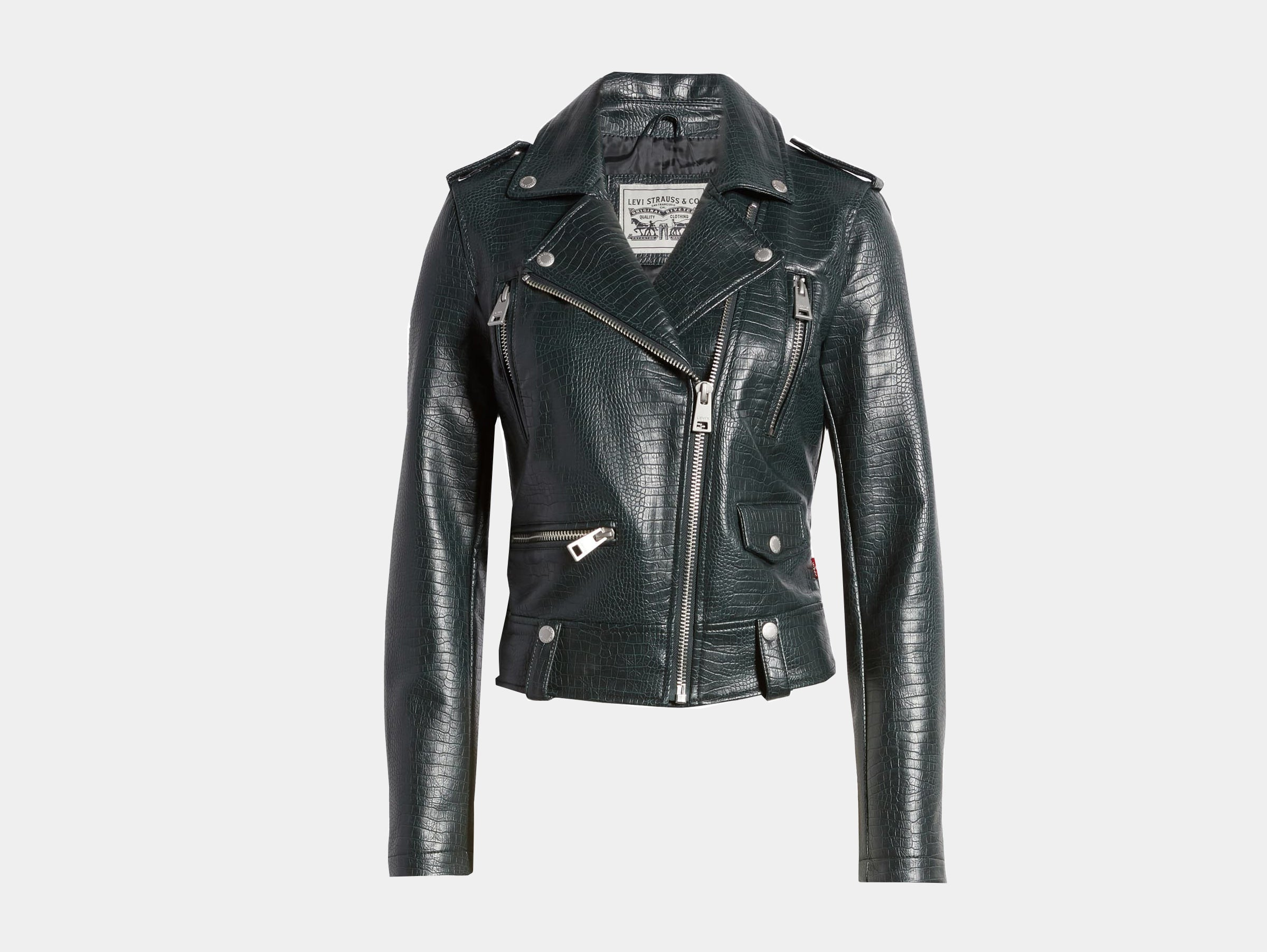 Levi's - Vegan faux leather moto green black biker jacket