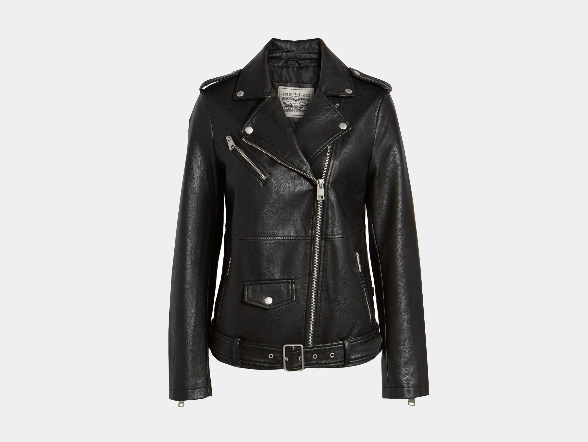 Levis - Vegan oversize faux black leather moto jacket