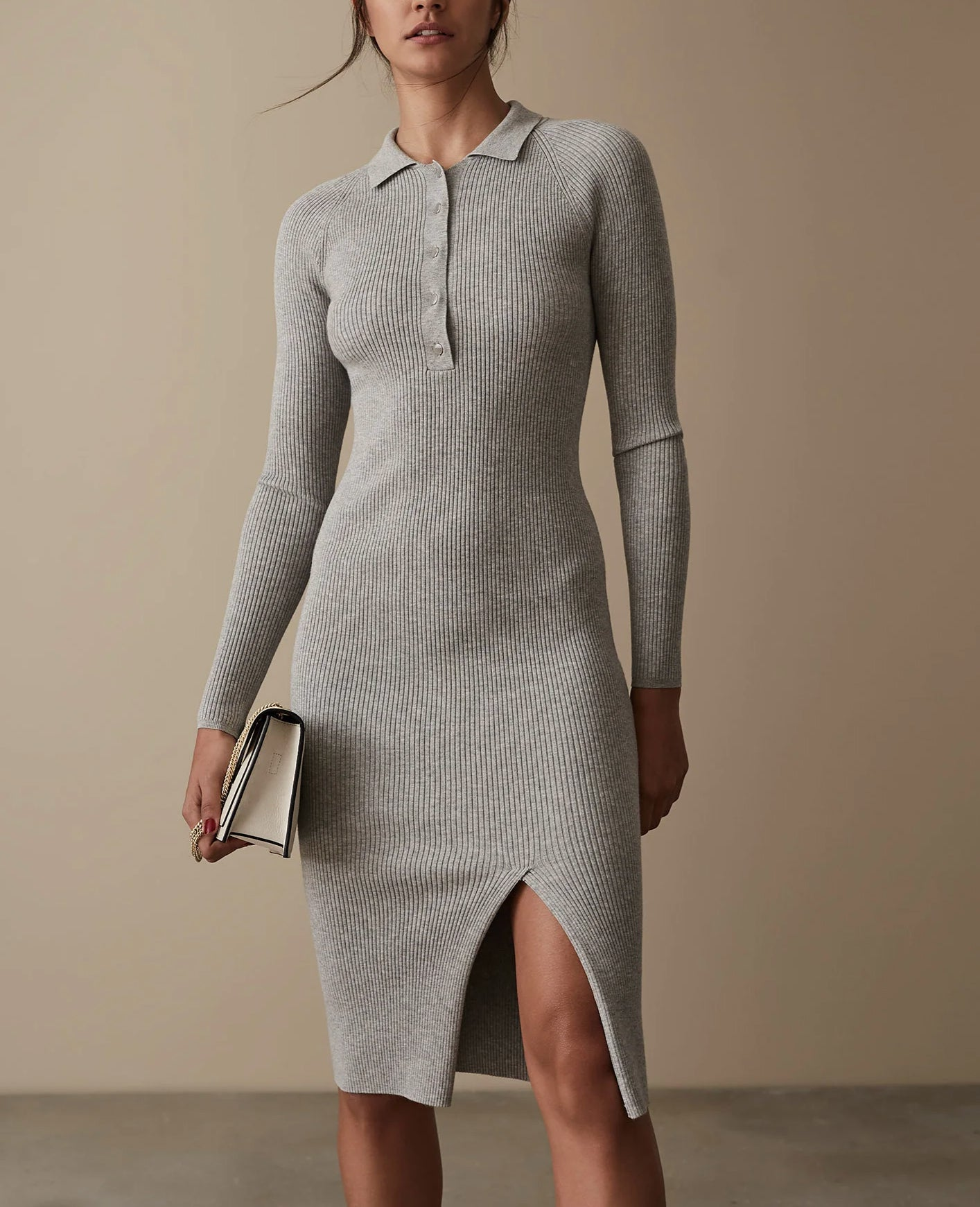 Louise - Grey knitted stretch dress with collar