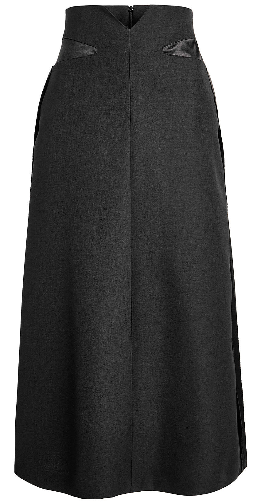 Maison Margiela - Black wool midi skirt with satin panels