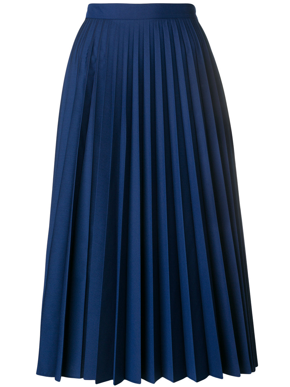 Margaret Howell - Sunray blue pleated midi skirt featured in Capsule Wardrobe on ownmuse.com