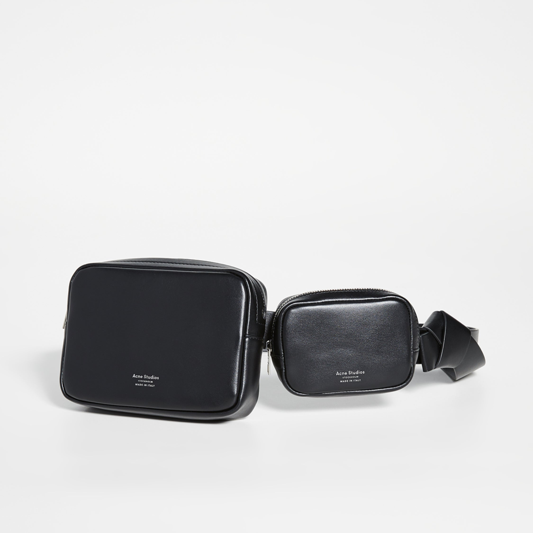 Capsule Wardrobe Essential Bags - Acne Studios Black Leather Musubi Belt Pouches Bags