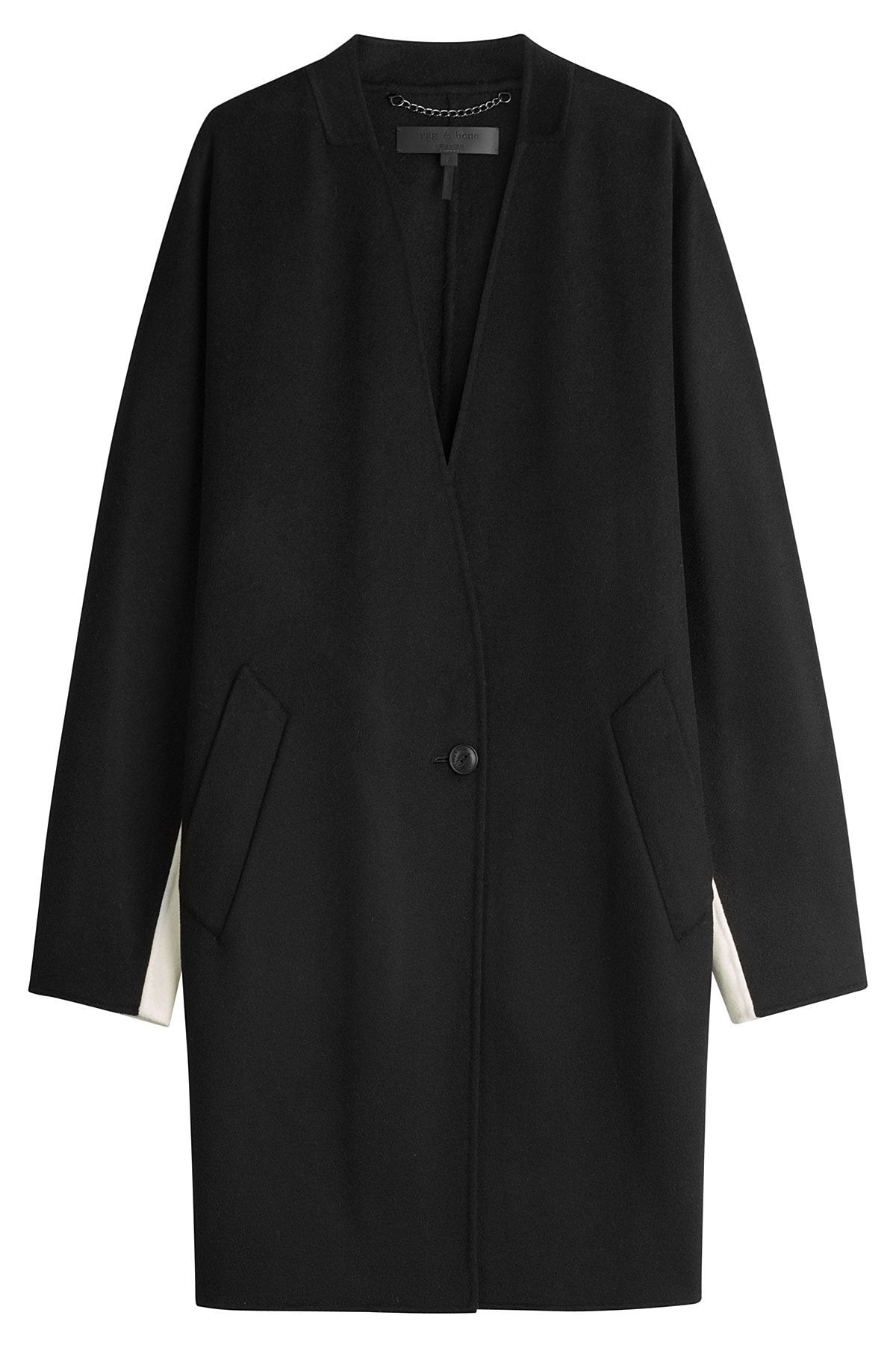 rag & bone - Black and white stripe colour-blocked wool coat